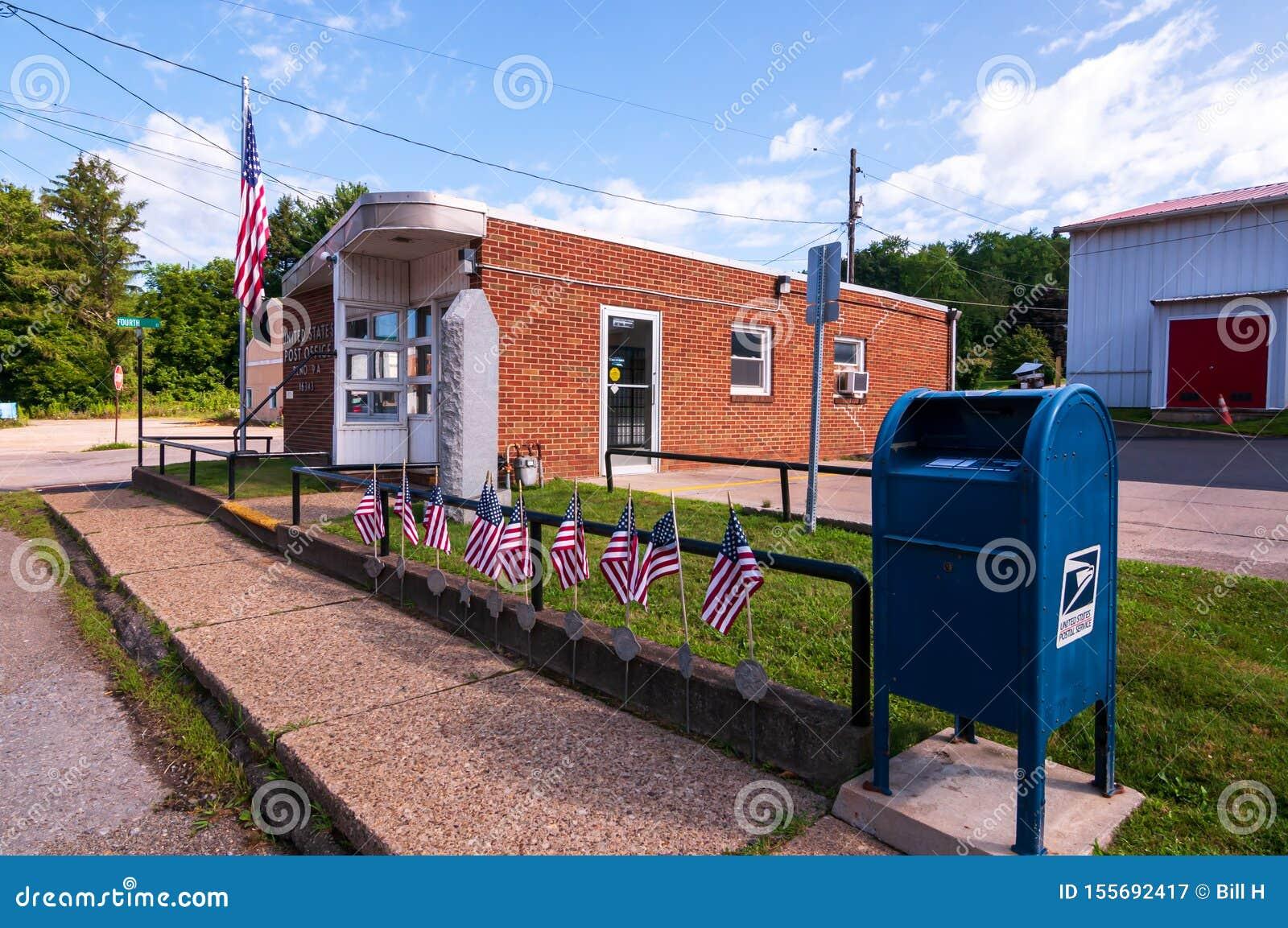 Reno, la contea di Venango, la Pensilvania, dell ufficio postale e la cassetta delle lettere di U.S.A. 8/9/2019 Stati Uniti sull