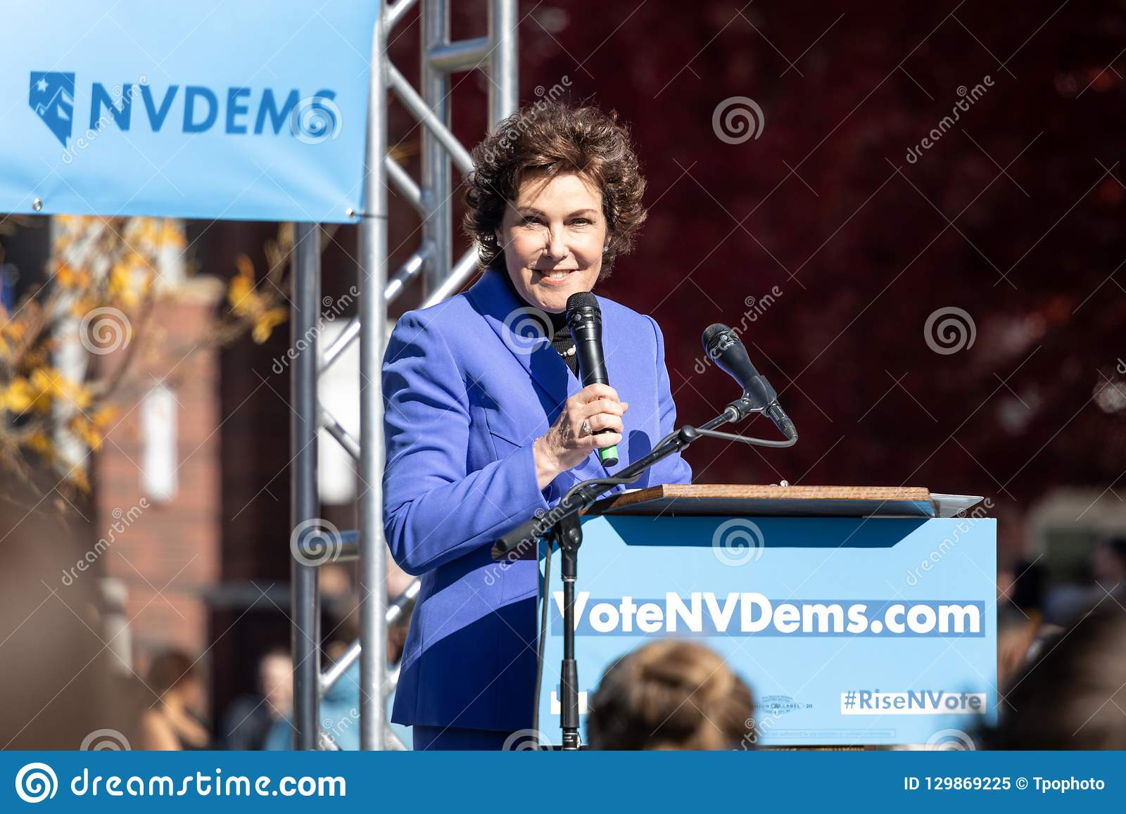 Jacky Rosen Smiling At A Political Rally On The UNR Campus