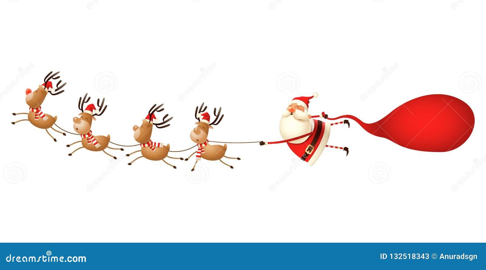 Reno que tira de Santa Claus - ejemplo divertido lindo de la Navidad aislado en blanco