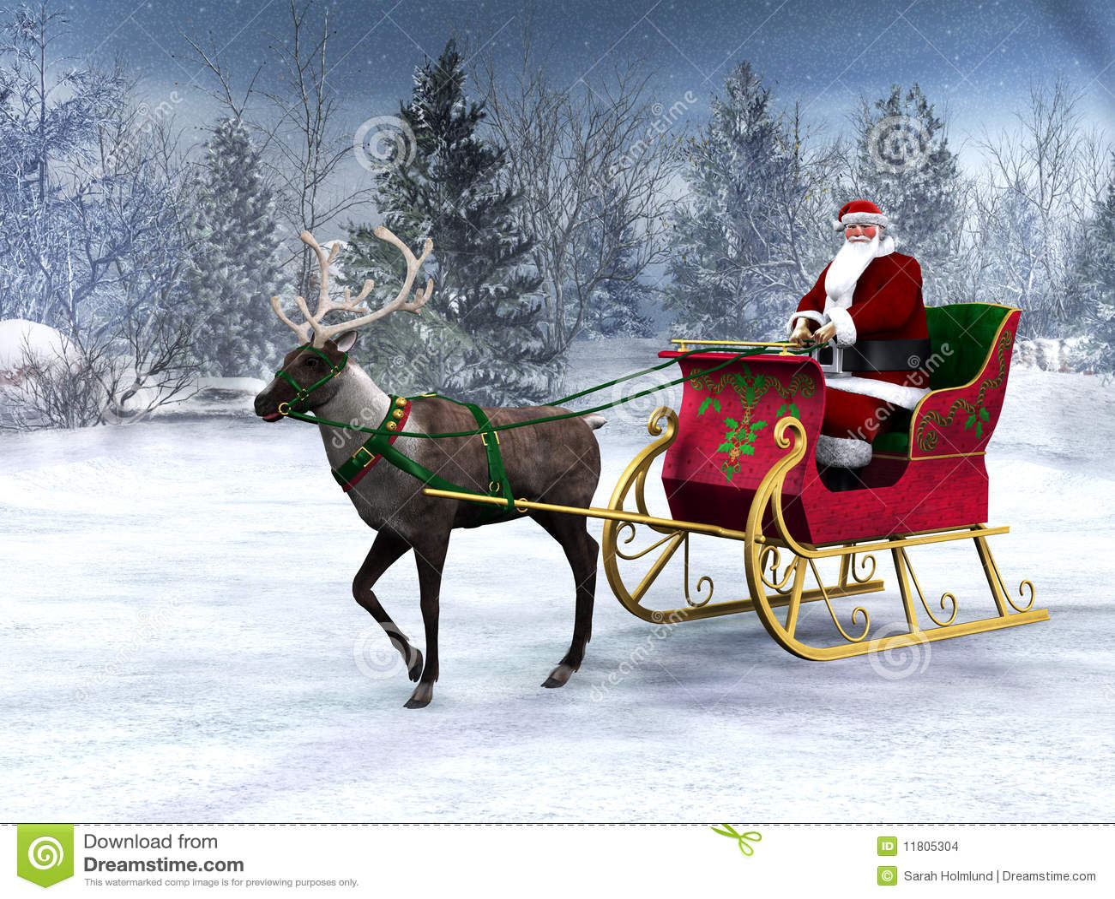 Reno que tira de un trineo con Papá Noel.