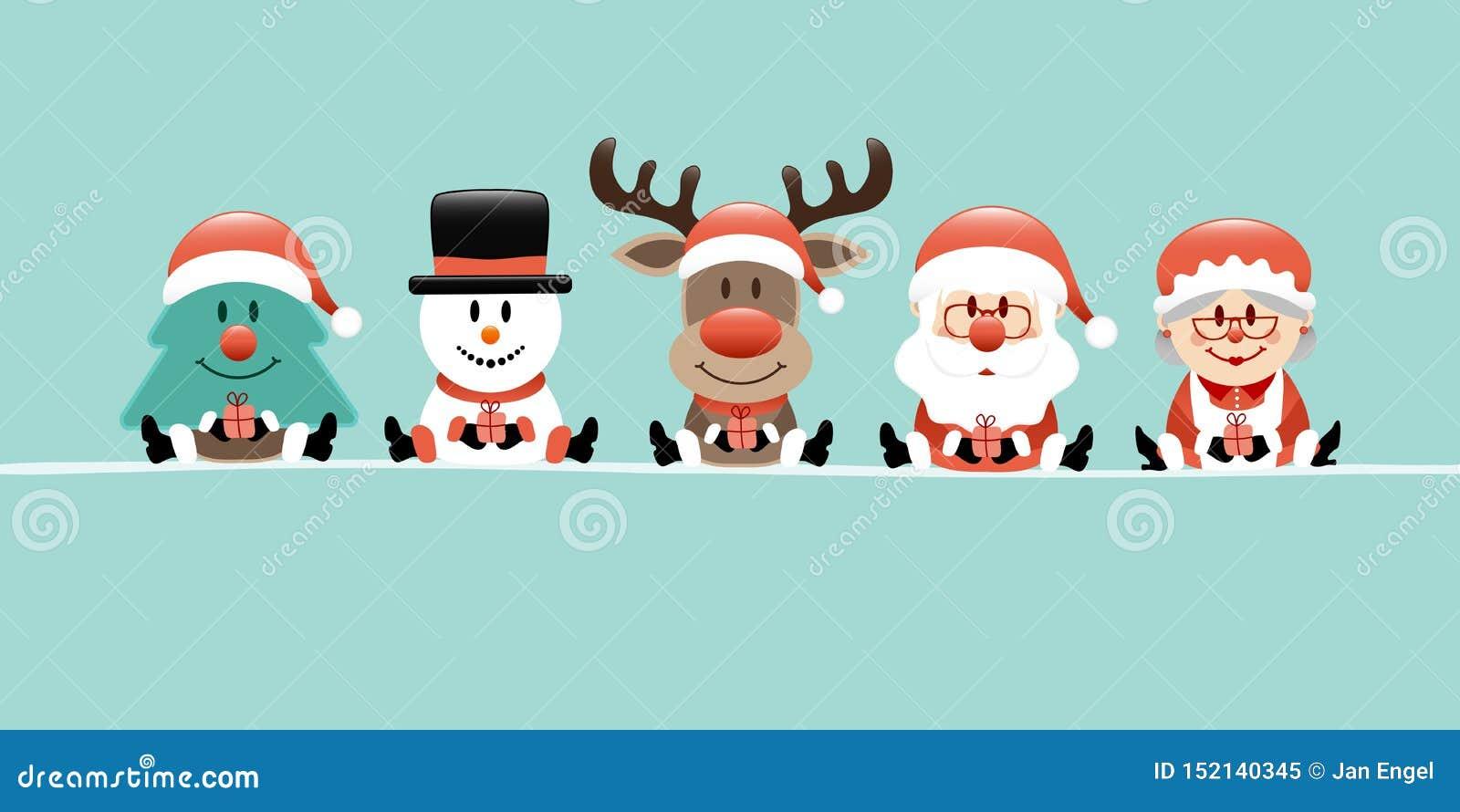 Reno Santa And Wife Turquoise del muñeco de nieve del árbol de navidad de la bandera