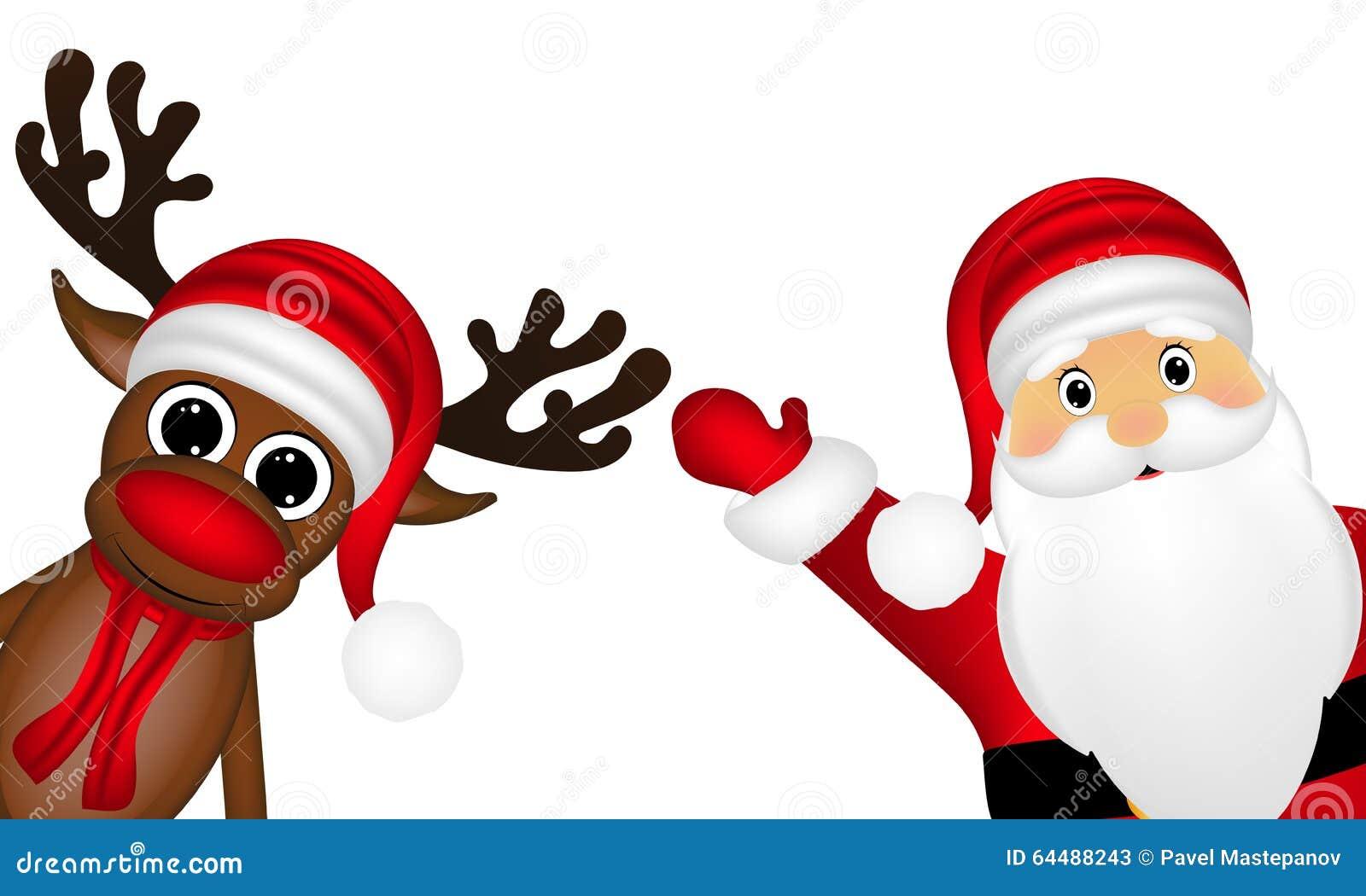 Reno Y Santa Claus En El Lado De Un Fondo Blanco Stock De