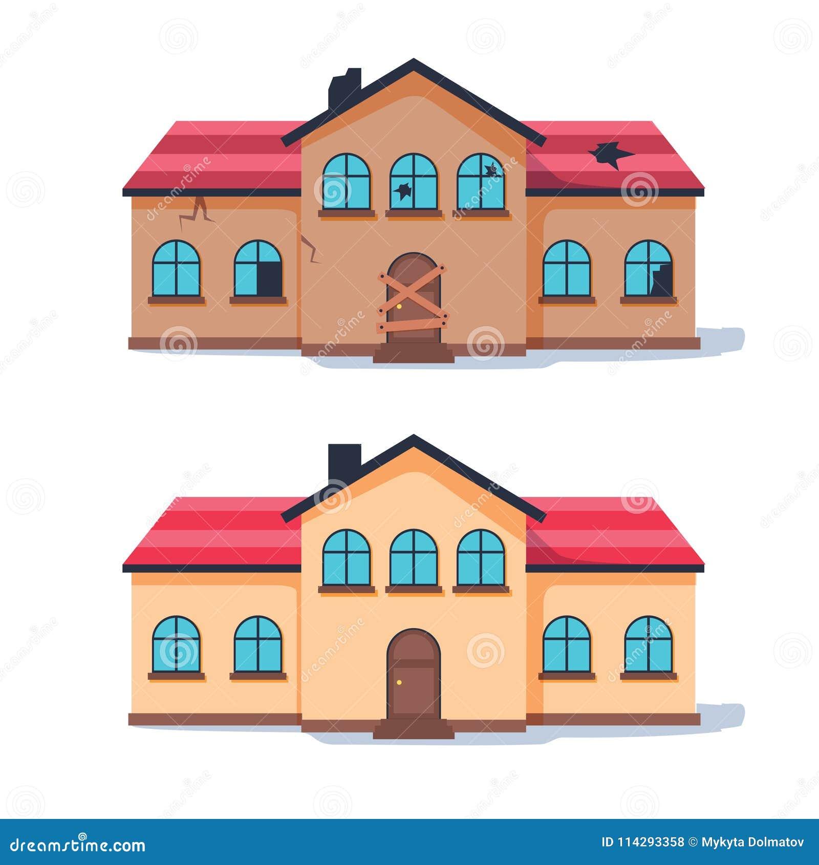 Renovación casera de la casa que necesita reparaciones antes y después Casa desmantelada vieja remodelada en la cabaña suburbana