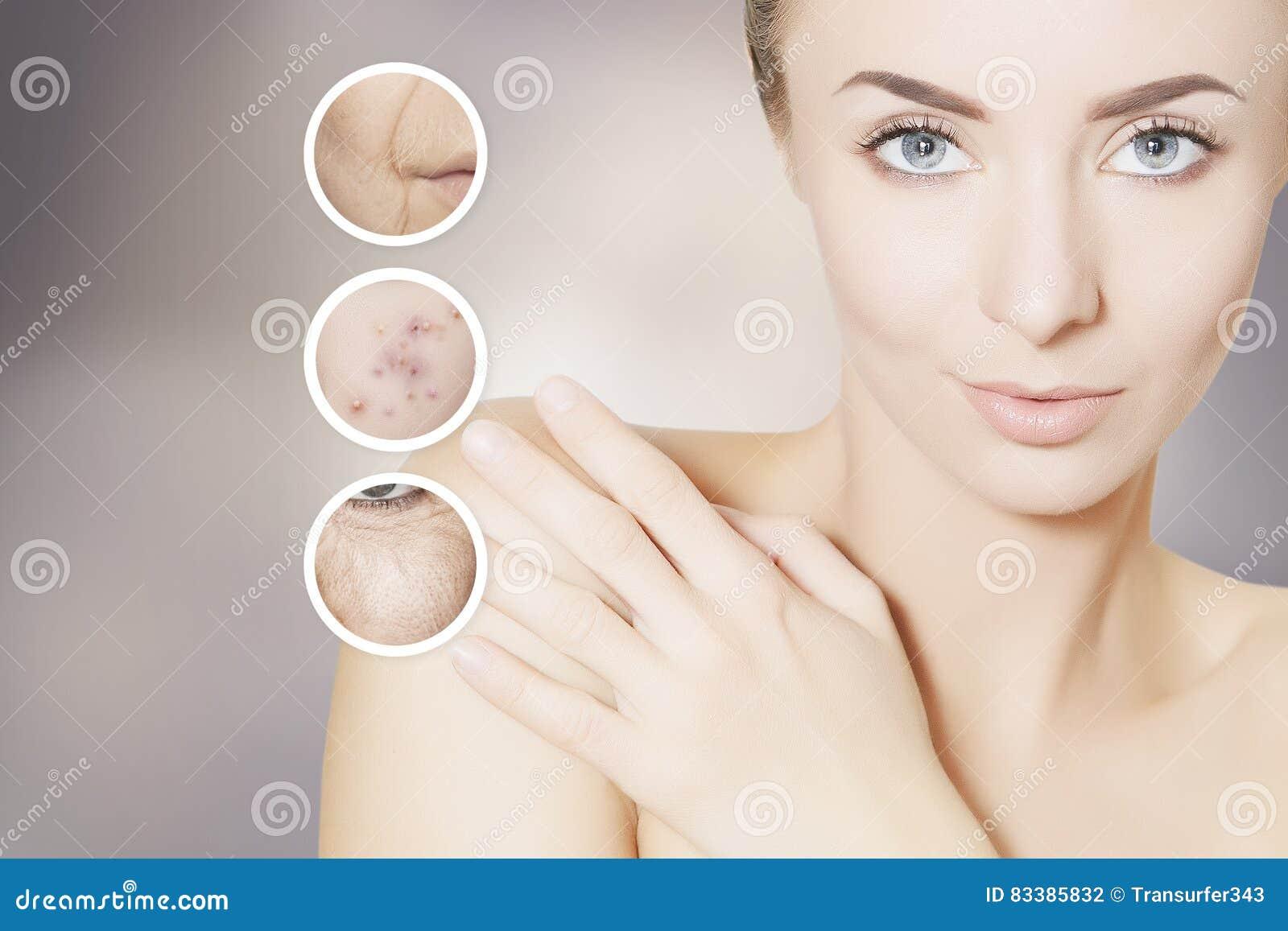 Renovando o retrato da pele da mulher com círculos gráficos para a pancada