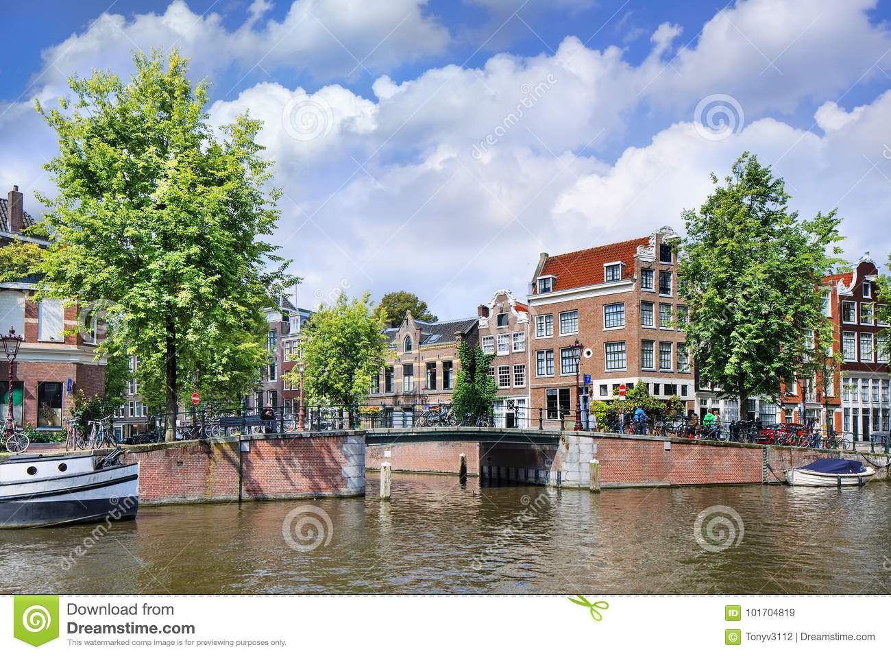 Renovated mansions in Amsterdam historical canal belt, Ntherlands