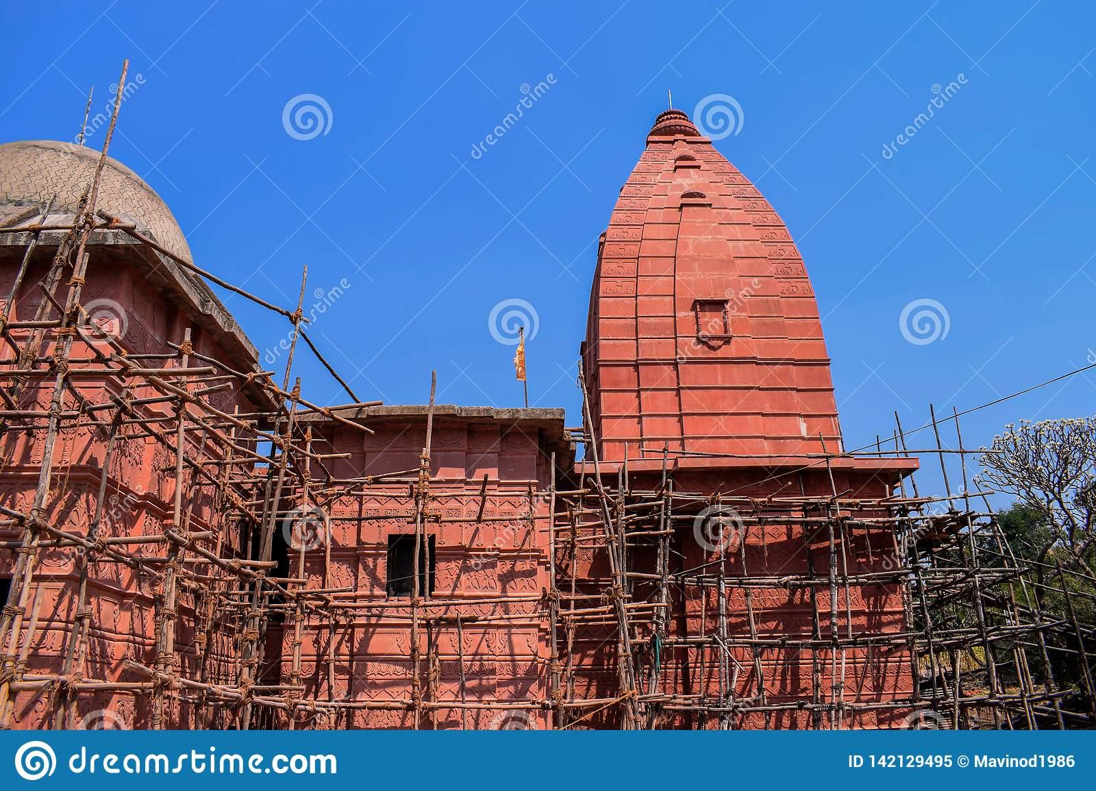 Renovation of a old epic ancient temple in the old city of India