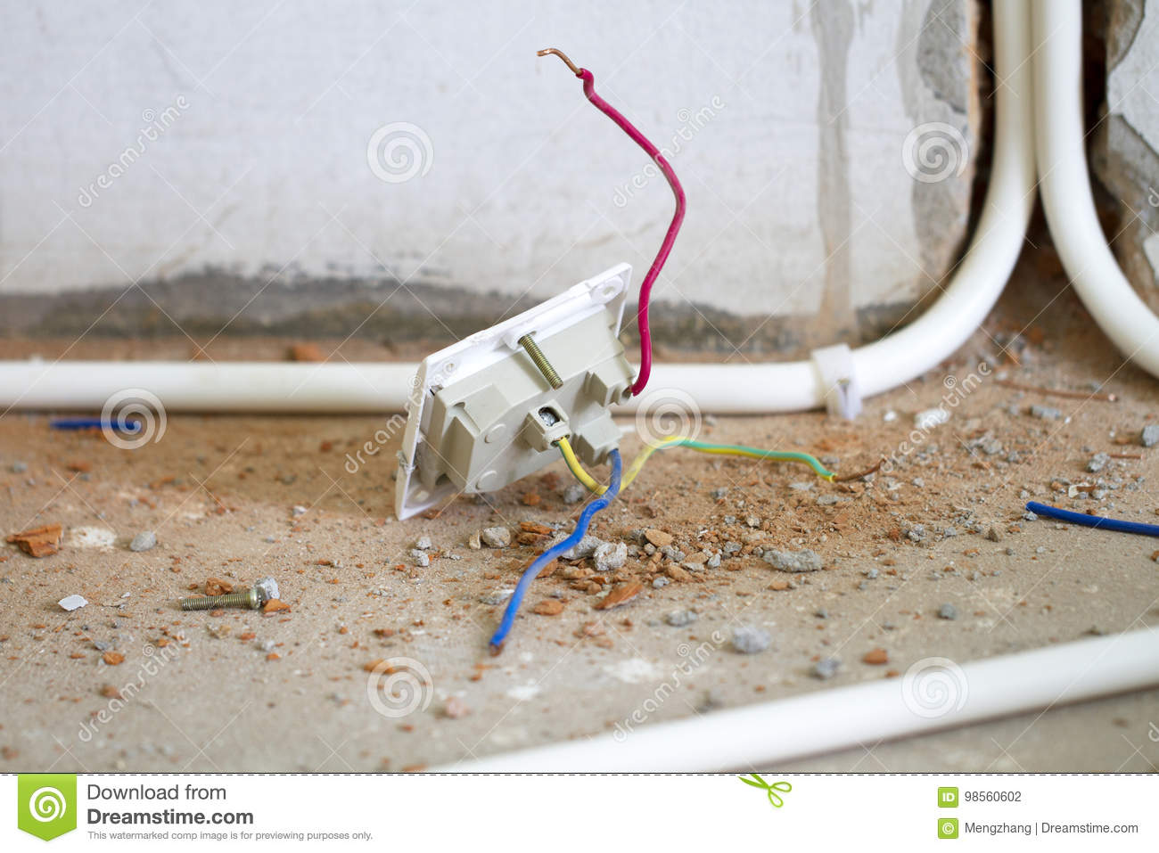 Renovation Workbury A Pvc Pipe In The Wall Stock Photo Image Of Electrical Wiring Through Walls
