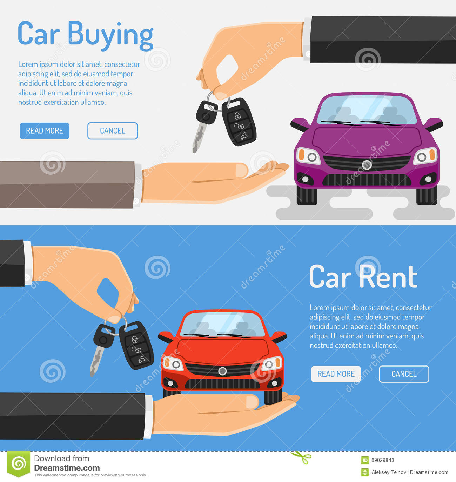 Rent Amd Buying Car Banner Stock Vector Illustration Of Banner 69029843