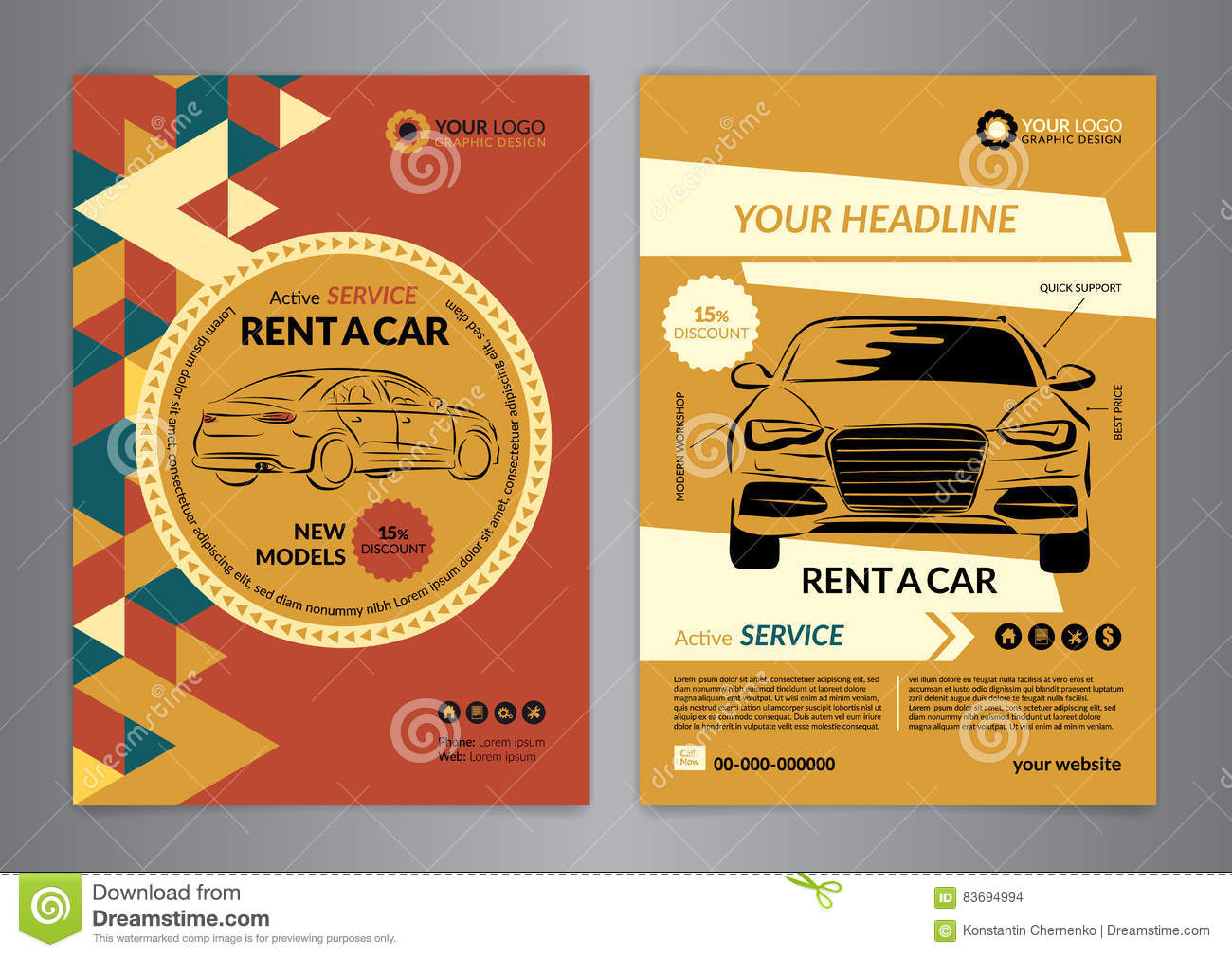 vehicle service flyer template stock vector image  rent a car business flyer template auto service brochure templates stock images