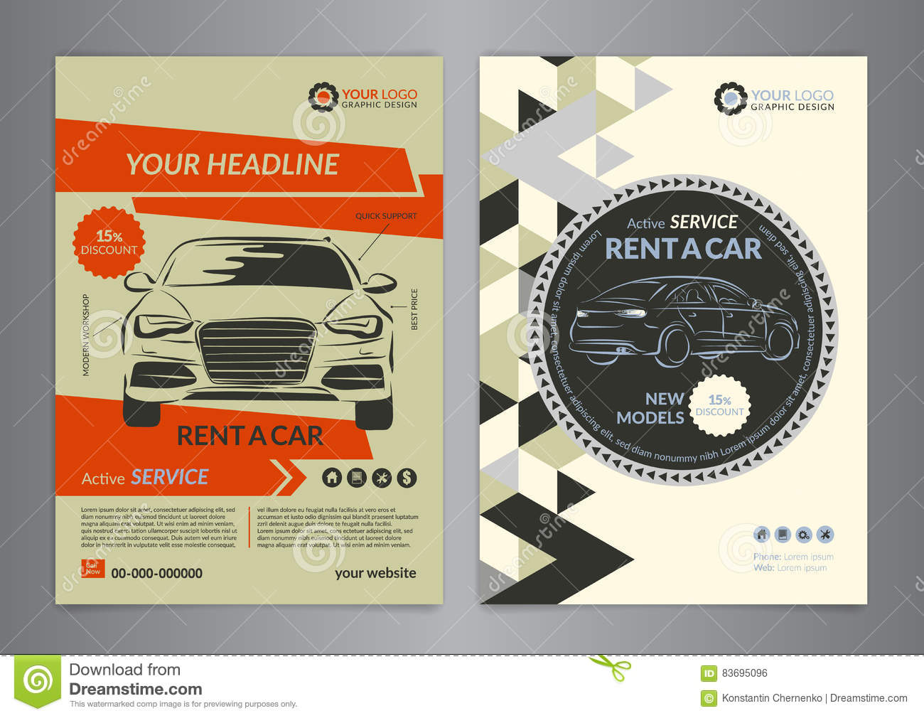 Rent a car business flyer template auto service brochure for Automobile brochure design