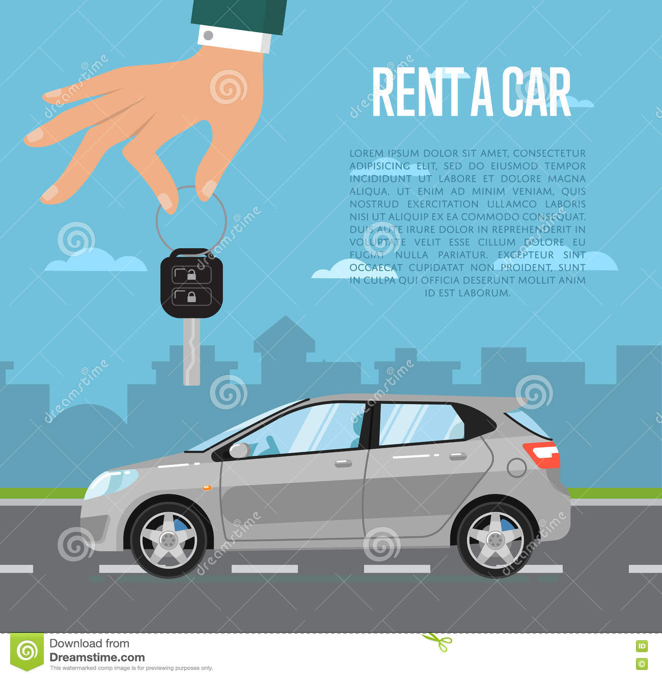 Car Rental: Rent A Car Concept With Hand Holding Auto Key Cartoon