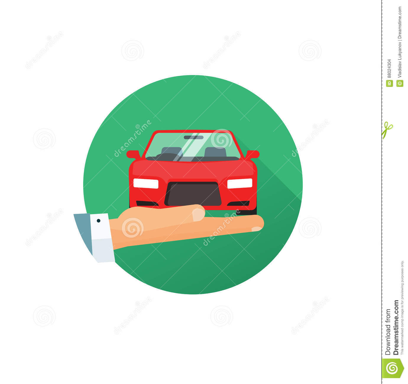 Rent A Car Vector Logo Idea Flat Style Hand Giving New Automobile