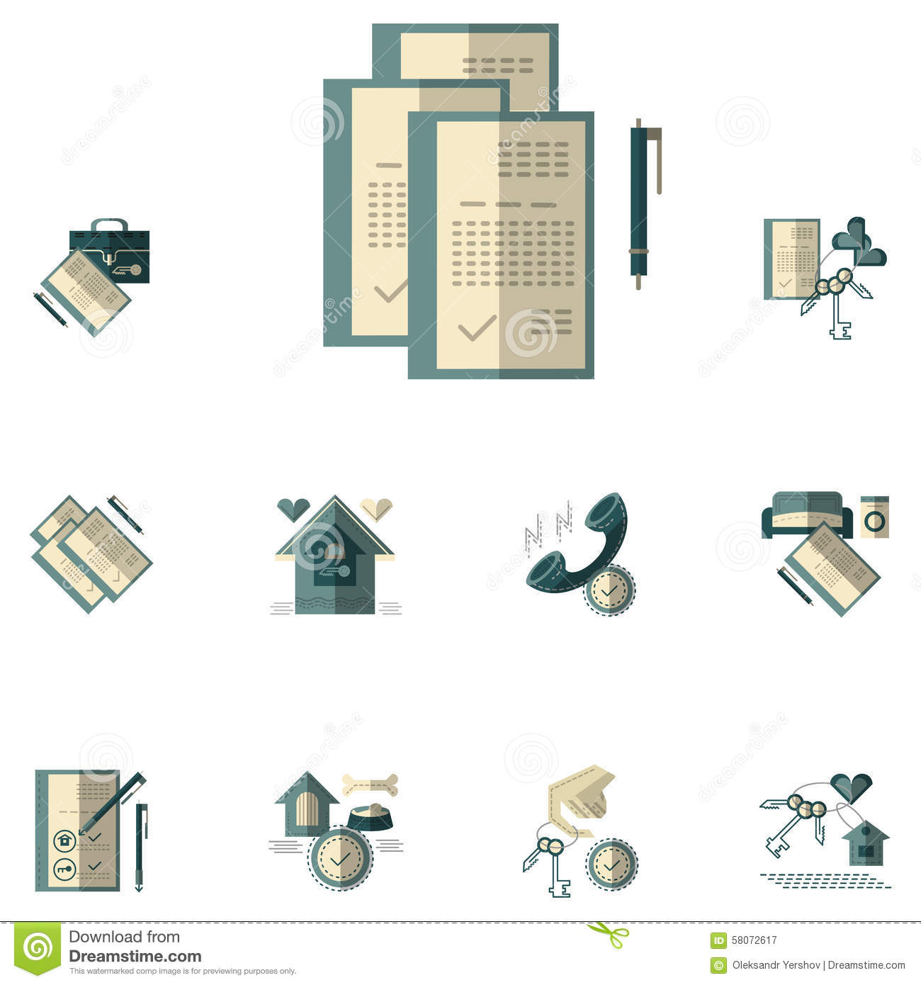 Rental Property Agency: Rent Of Property Flat Color Icons Stock Photo