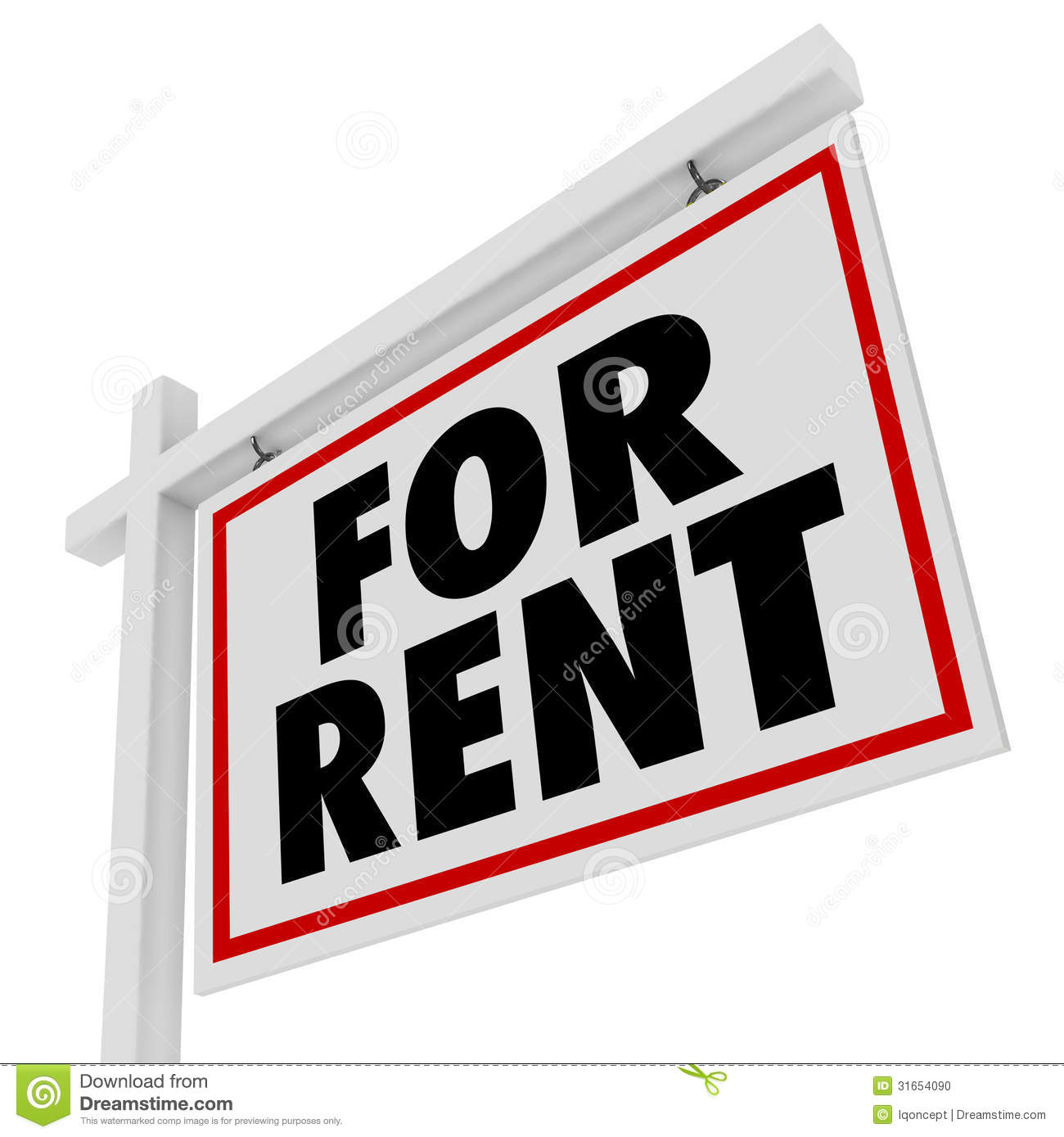 Apartmentrent: For Rent Real Estate Home Rental House Sign Stock Photo