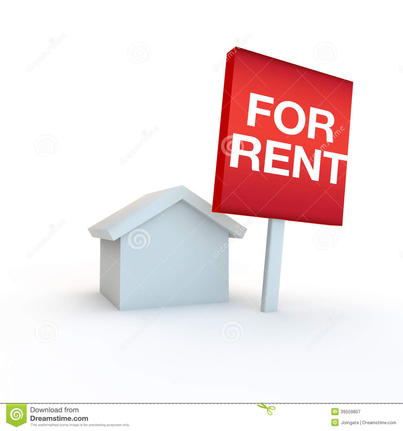 Rental Property Agency: For Rent Sign For Estate Agent Stock Image