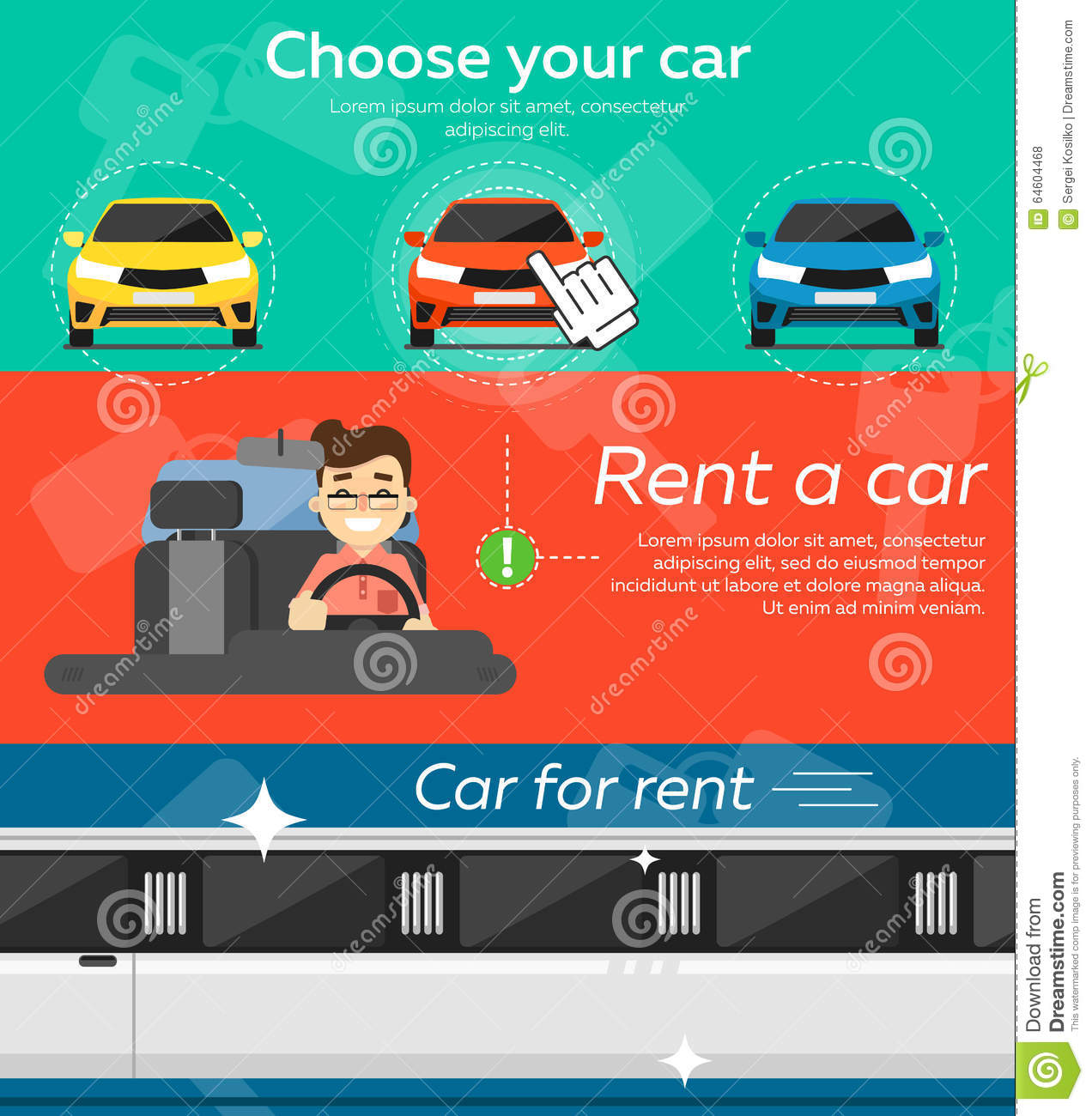 Websites For Renting: Rental Car Banners. Stock Vector