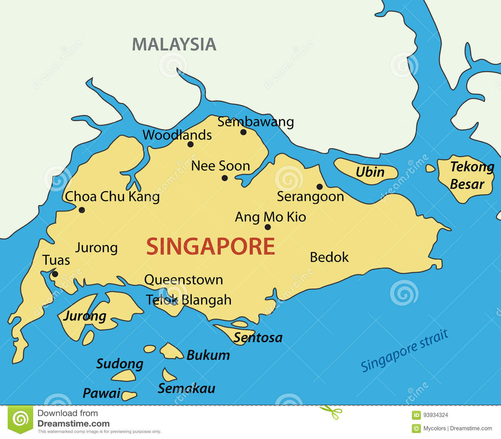Republica De Singapur Mapa Del Vector Ilustracion Del Vector