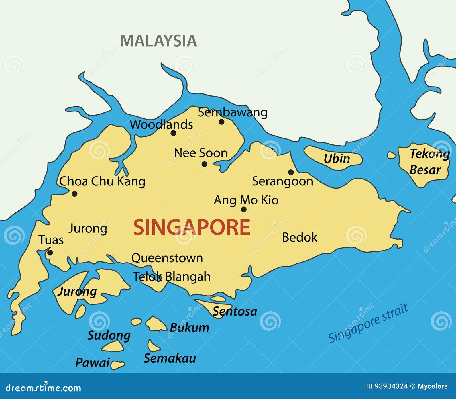 singapura no mapa República De Singapura   Mapa Do Vetor Ilustração do Vetor  singapura no mapa