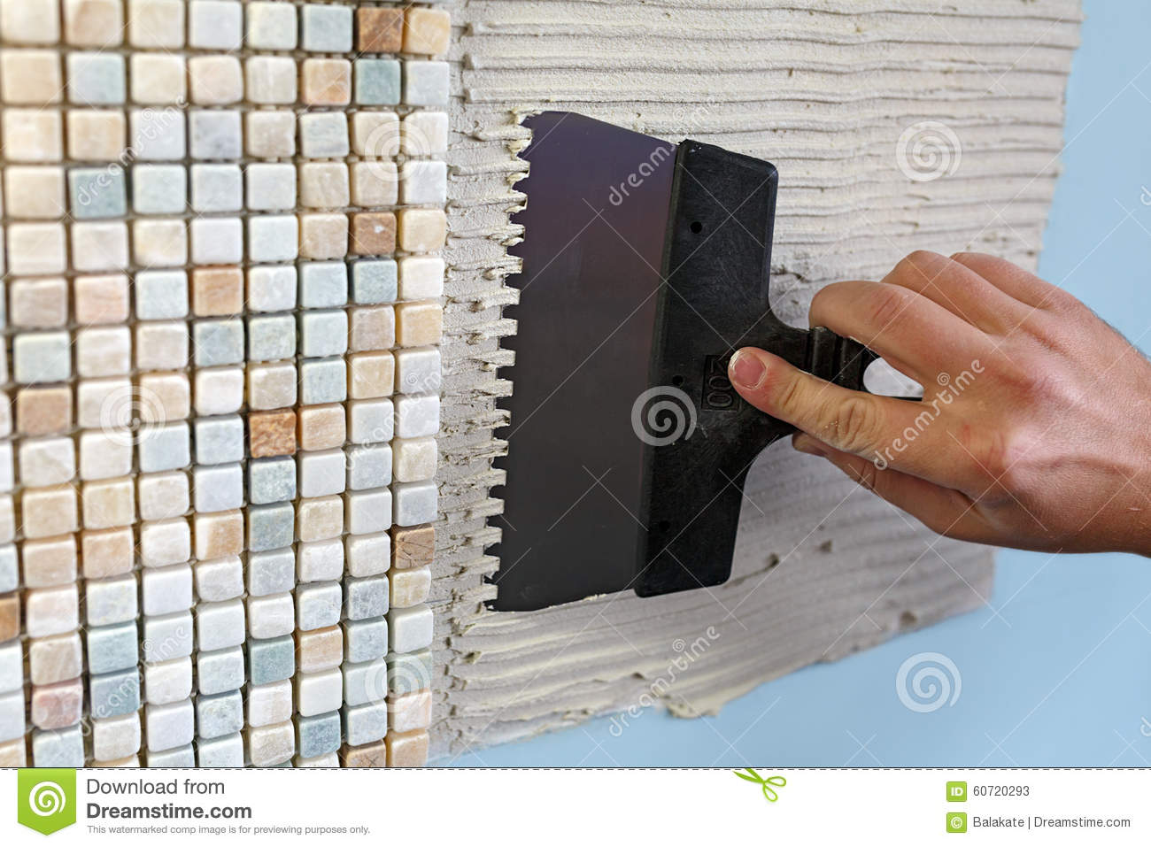 Bathroom Tile Trowel : Repair in the apartment installing mosaic tile on
