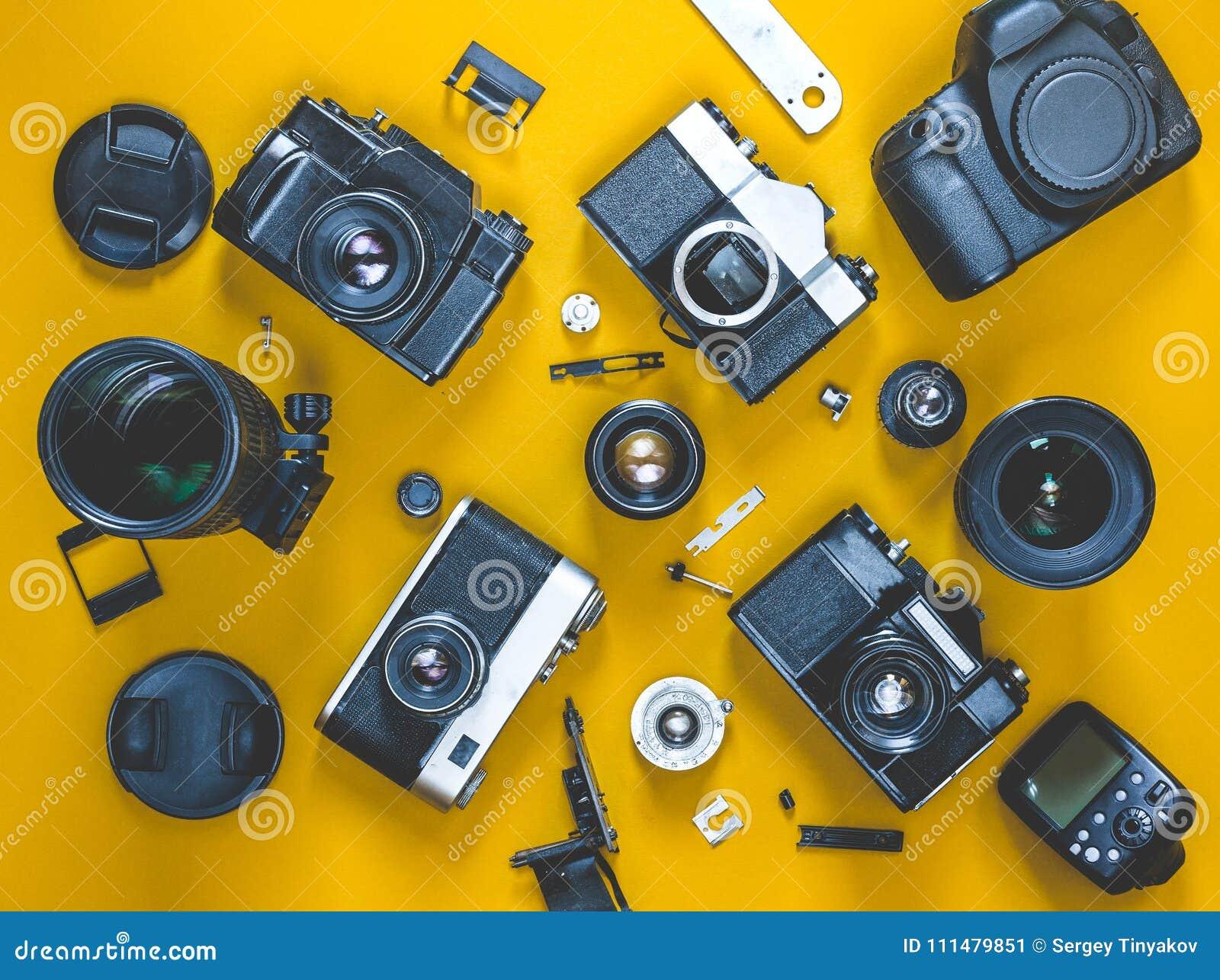 Repair Broken Film Camera Concept, Top View  Photograph