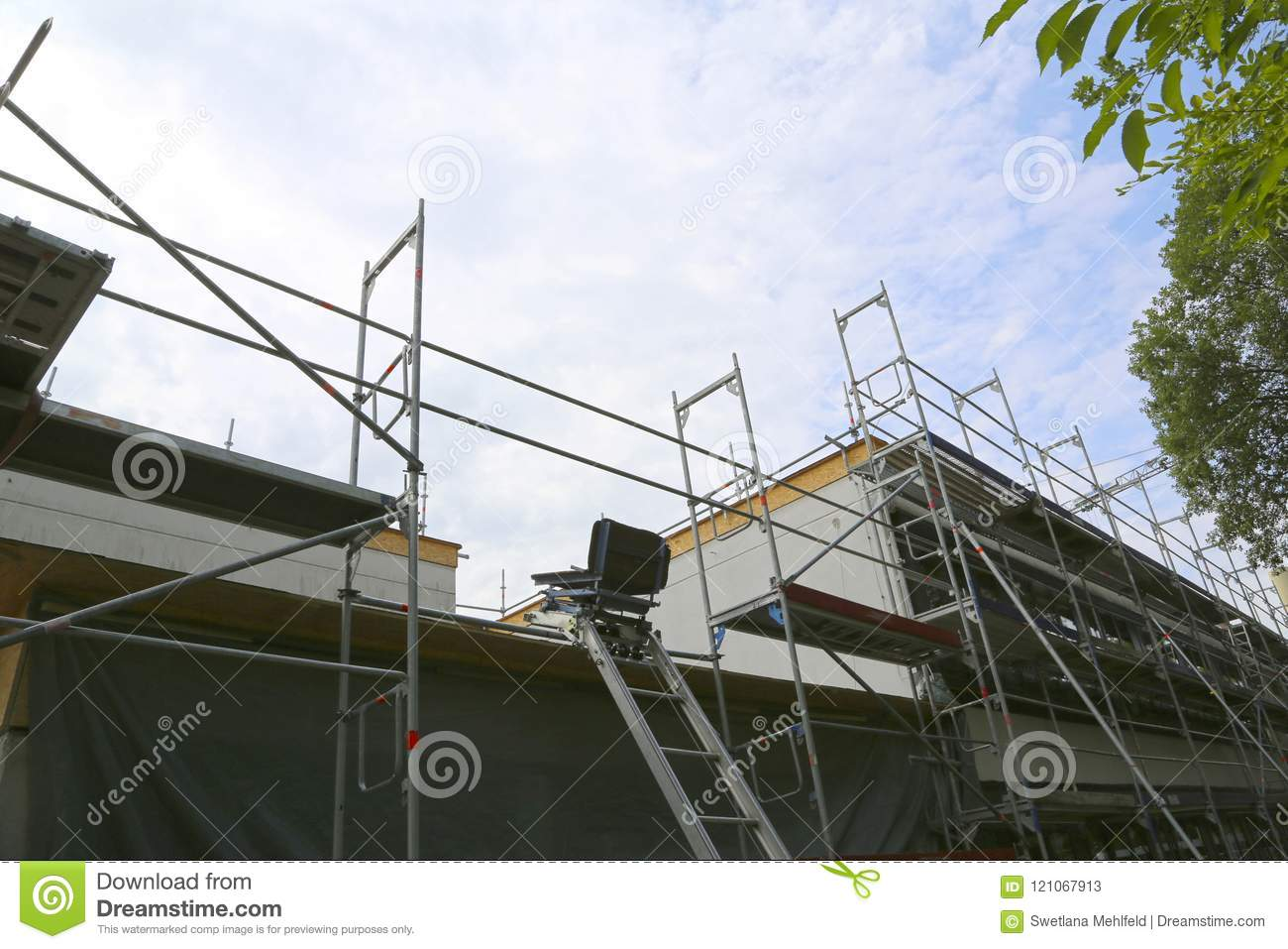 Repair Of The Building, Construction Chair Lift And Scaffolding.
