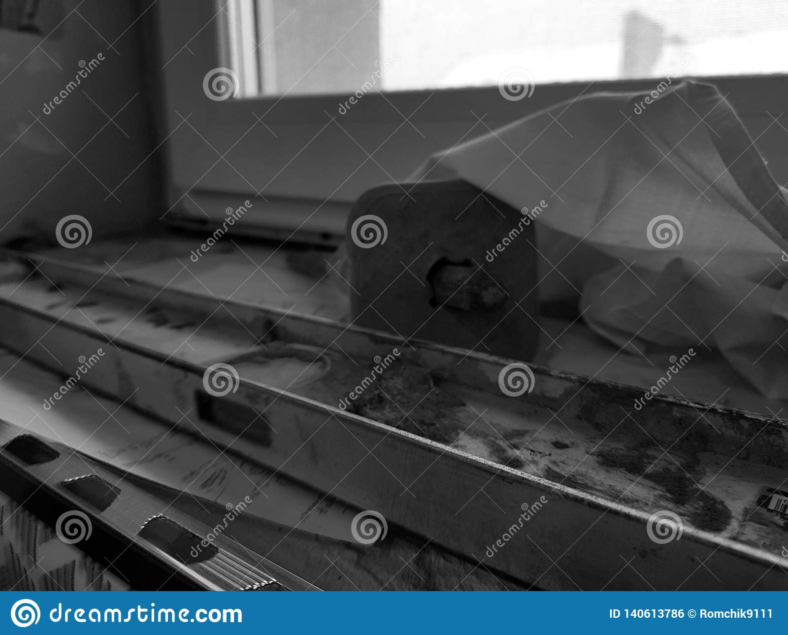 Repair - building with tools and hammer, chisel, building level
