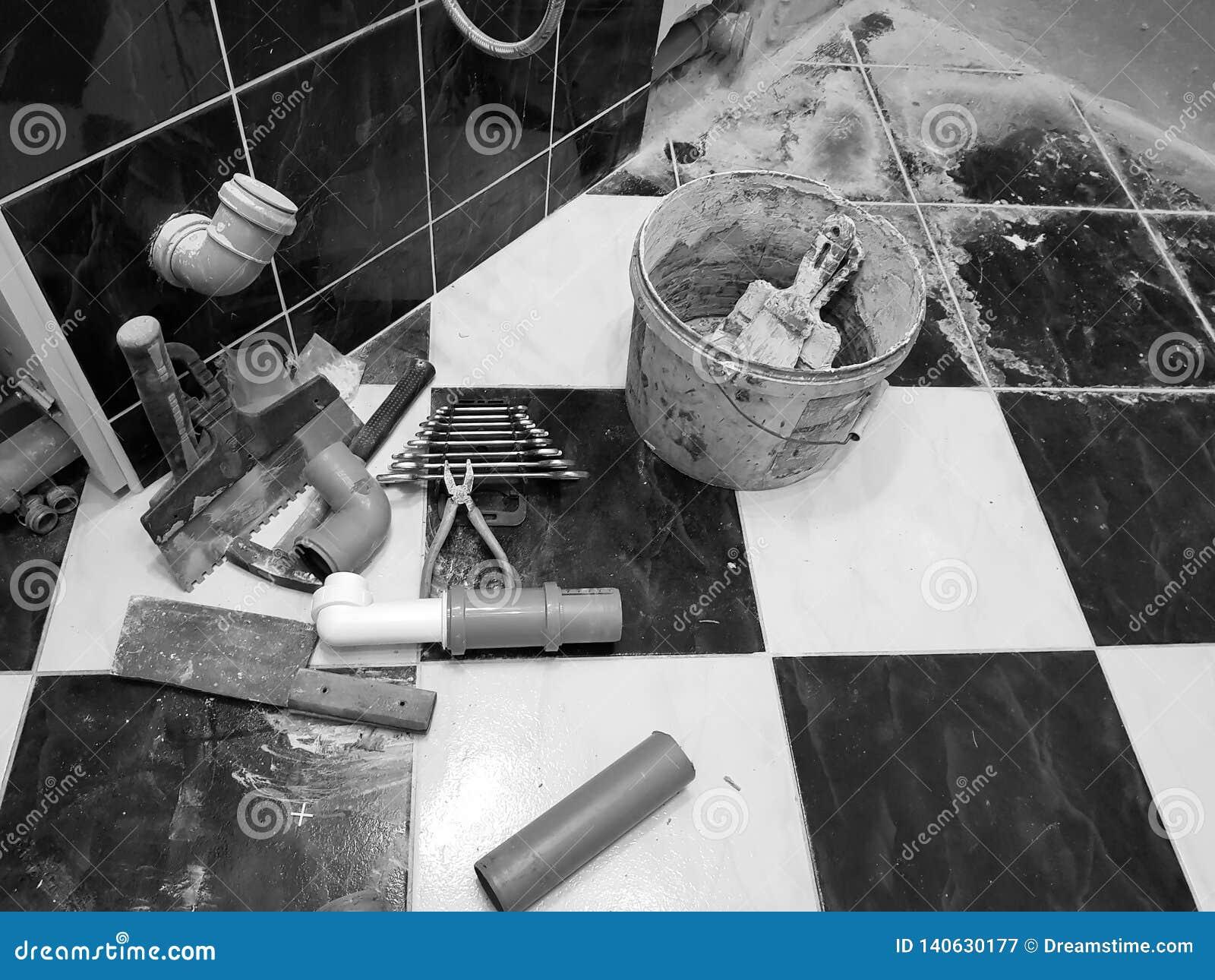 Repair - building with tools hammer, sledgehammer, pliers and keys