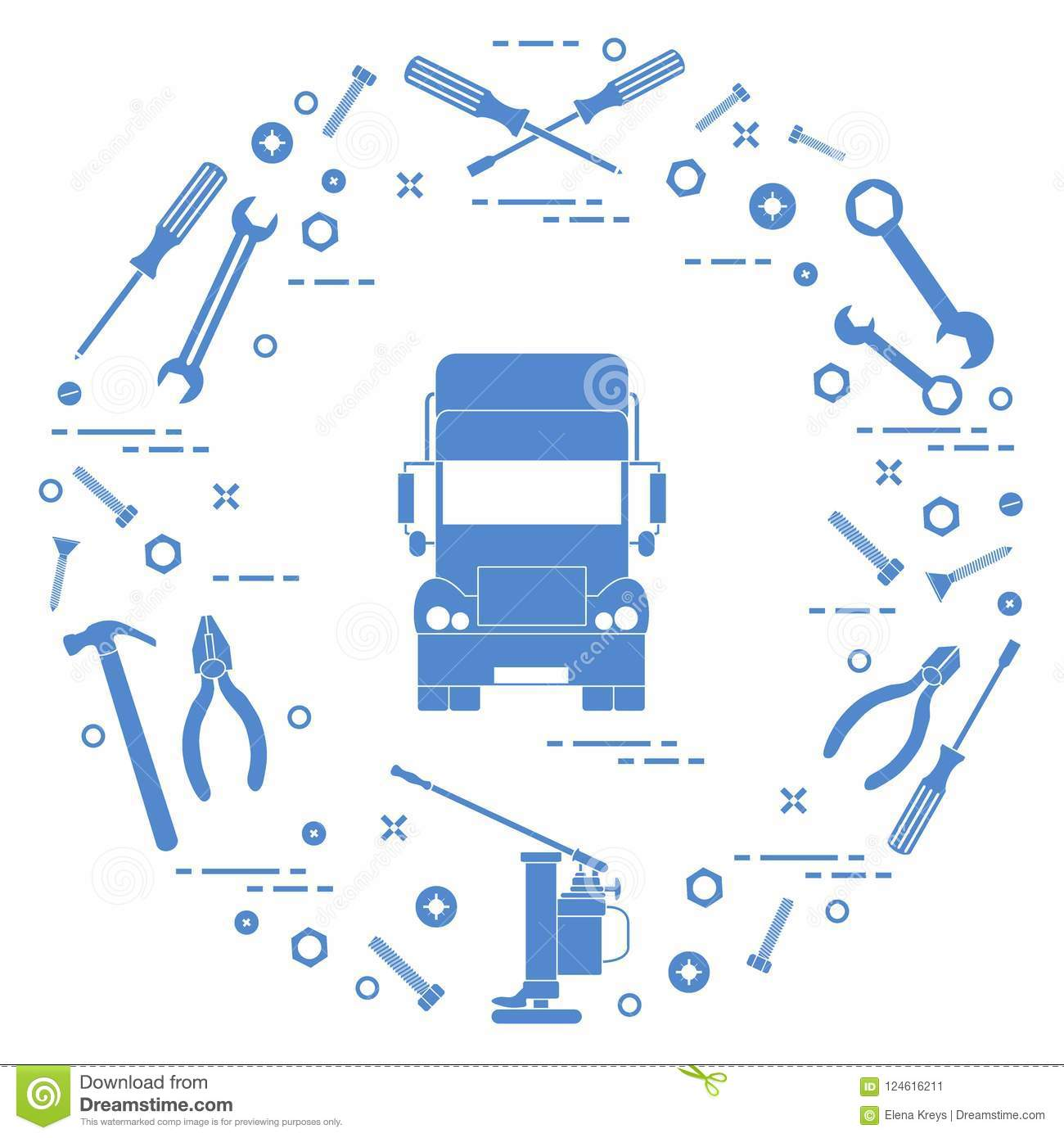 Repair Cars: Truck, Wrenches, s, Key, Pliers, Jack ... on