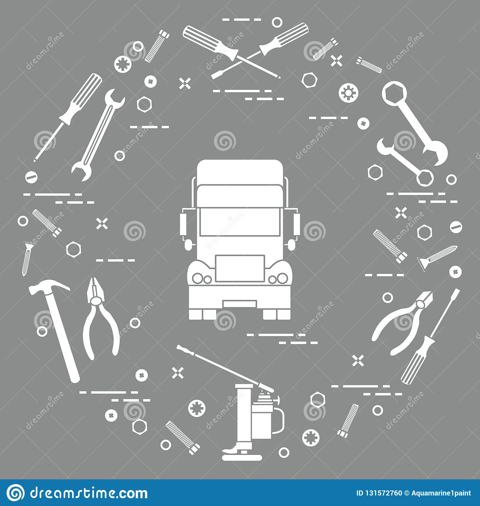 Repair cars: truck, wrenches, screws, key, pliers, jack, hammer, screwdriver. Design for announcement, advertisement, banner or