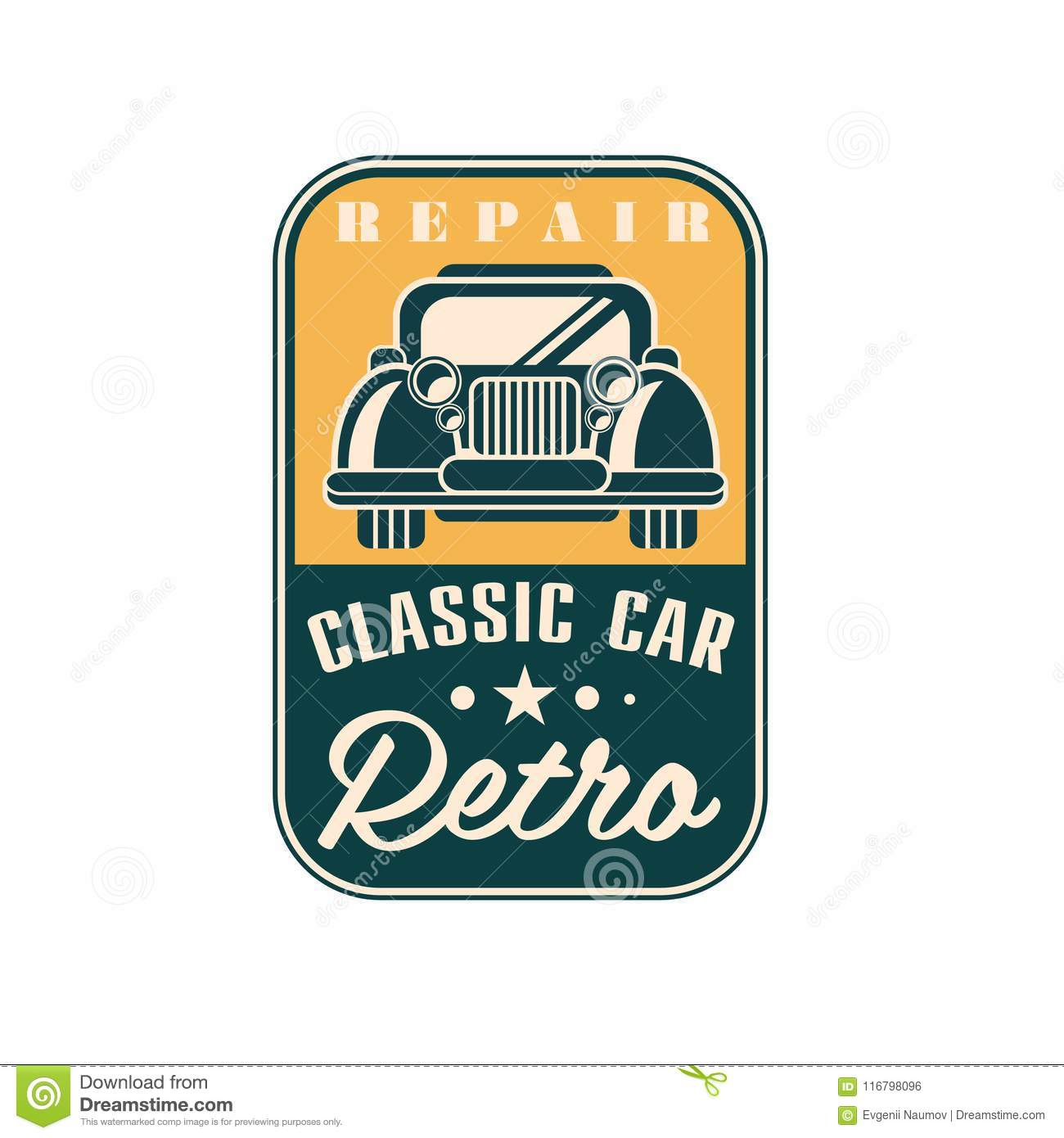 Repair Classic Car Logo, Retro Vintage Label, Auto Service Badge