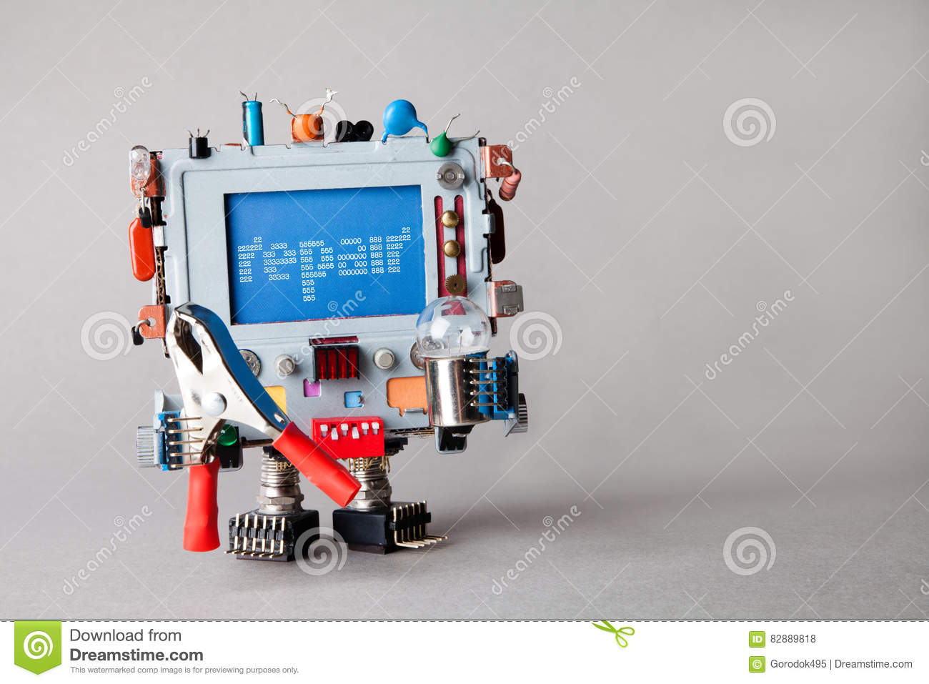 Repair computer service concept. Robot engineer with pliers and light bulb. alert warning message on blue screen monitor