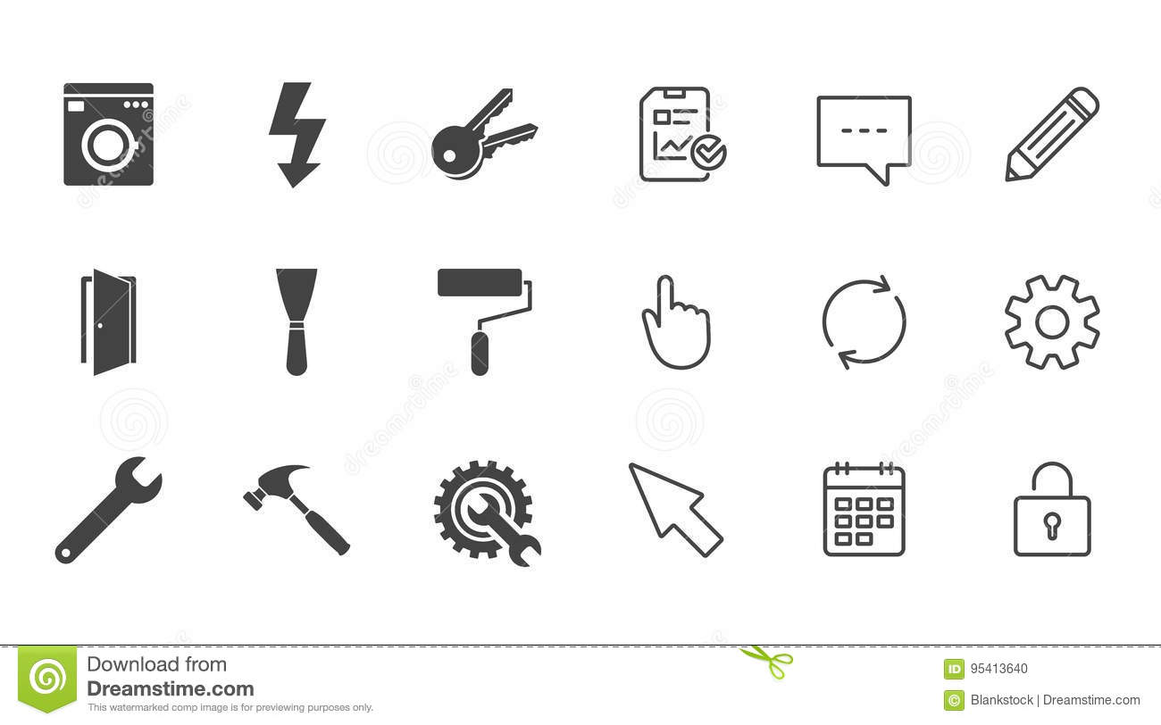 Repair Construction Icons Electricity Keys Stock Vector