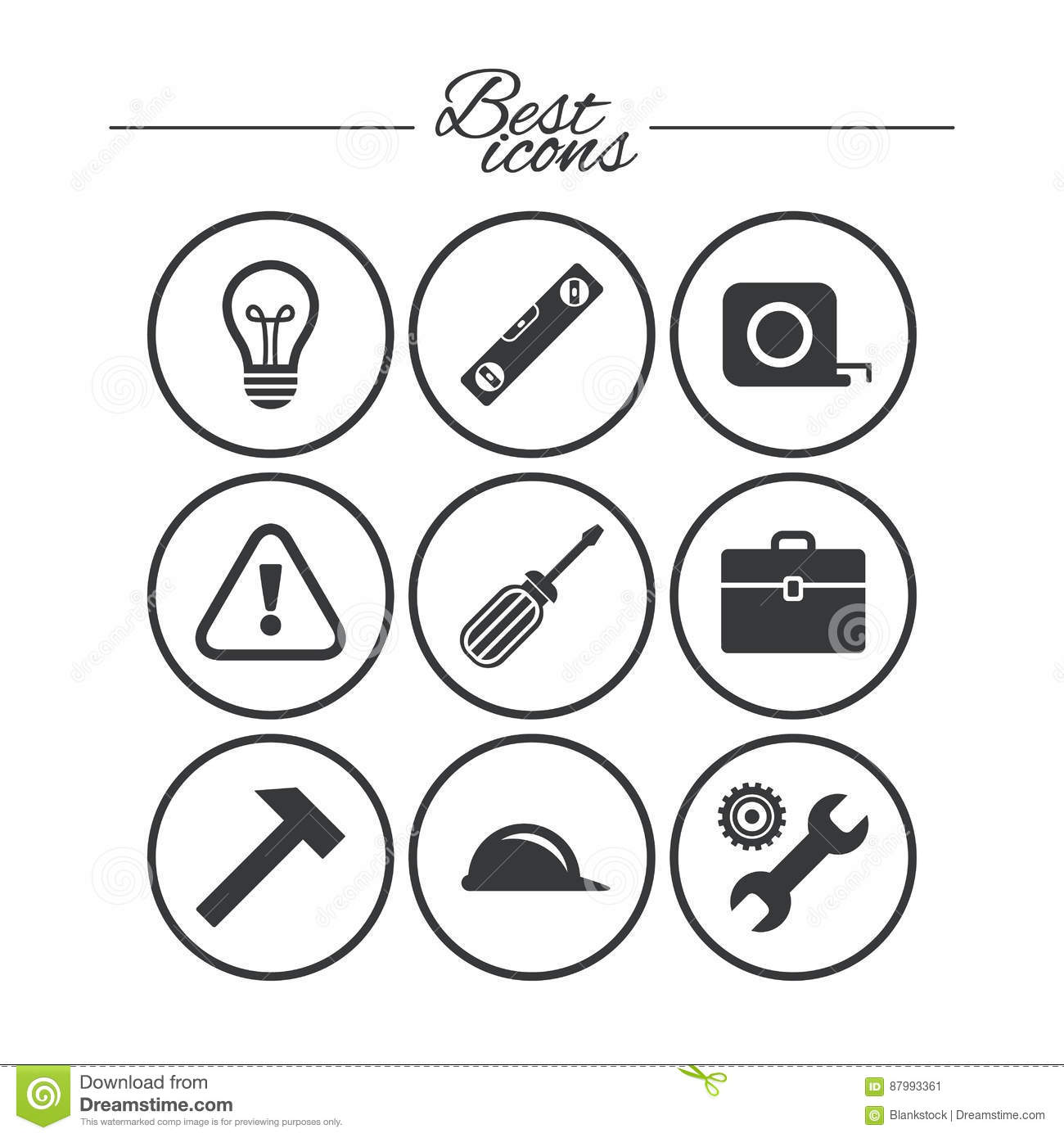 Repair Construction Icons Engineering Signs Stock Vector