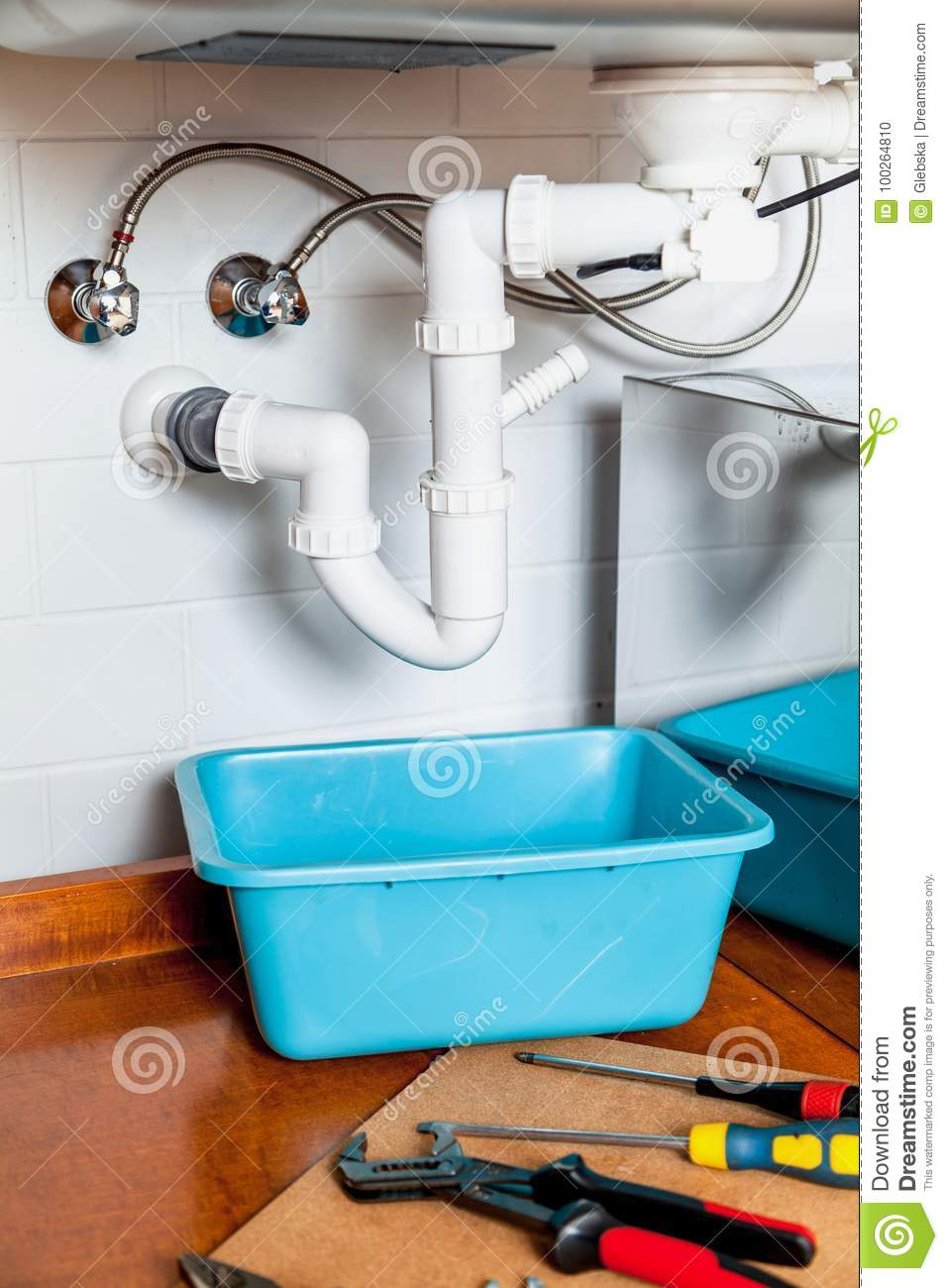Set Of Tools For Repair Of Kitchen Sink Stock Photo - Image of hose ...