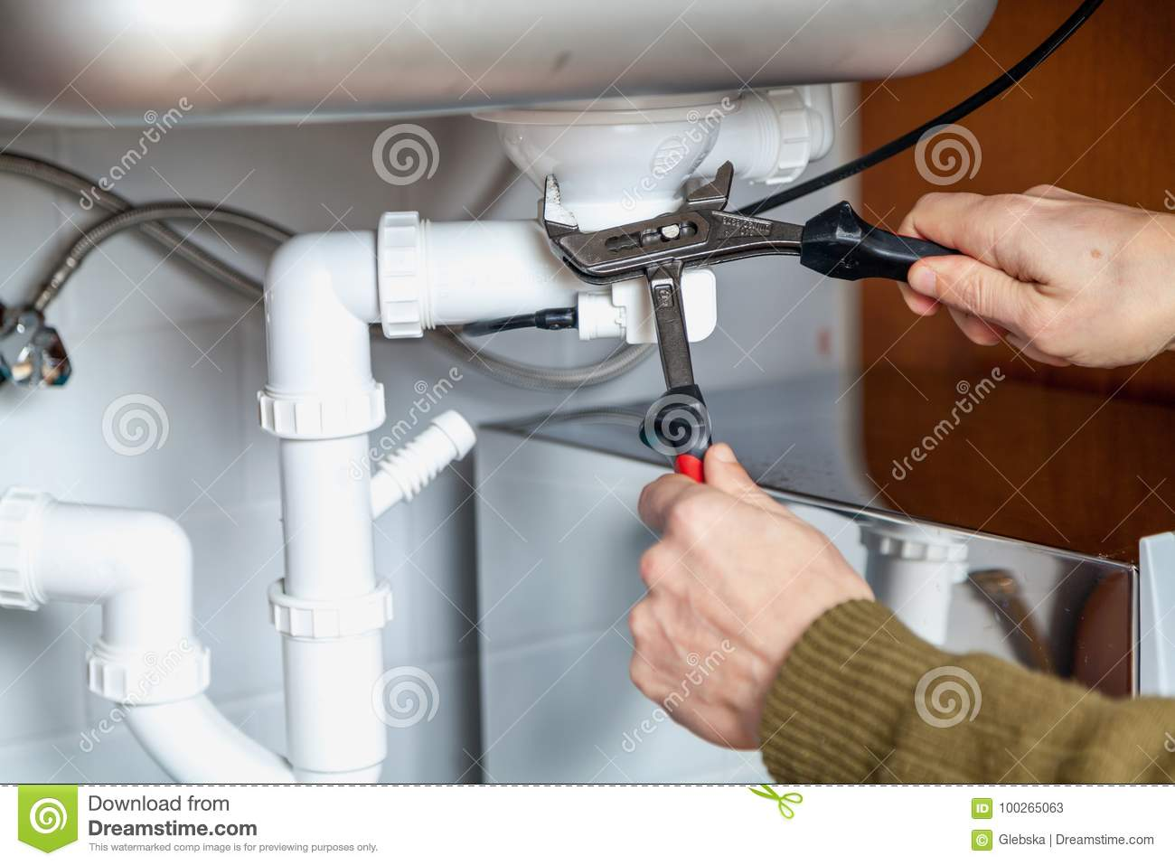 Repair Of Kitchen Overflow Pipe Wrench Closeup Stock Image - Image ...