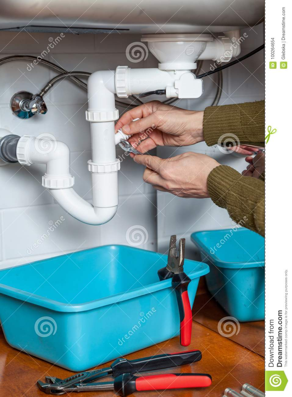 Repair Of Kitchen Weir Wrench Stock Photo - Image of breaking ...