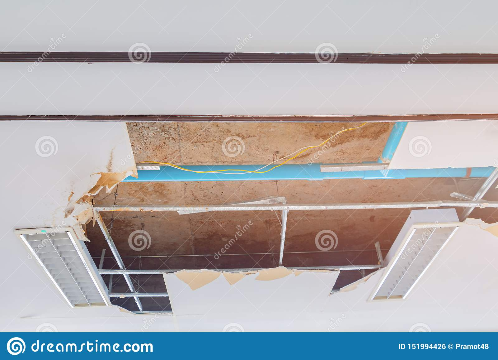 Repair Leak Water Pipe In Under Gypsum Ceiling Interior