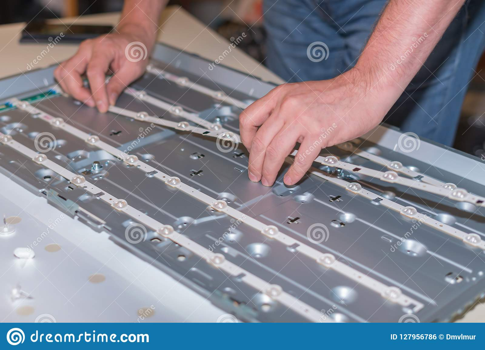 Repair Modetn TV, LED Backlight Replacement In LCD Panel Stock Photo
