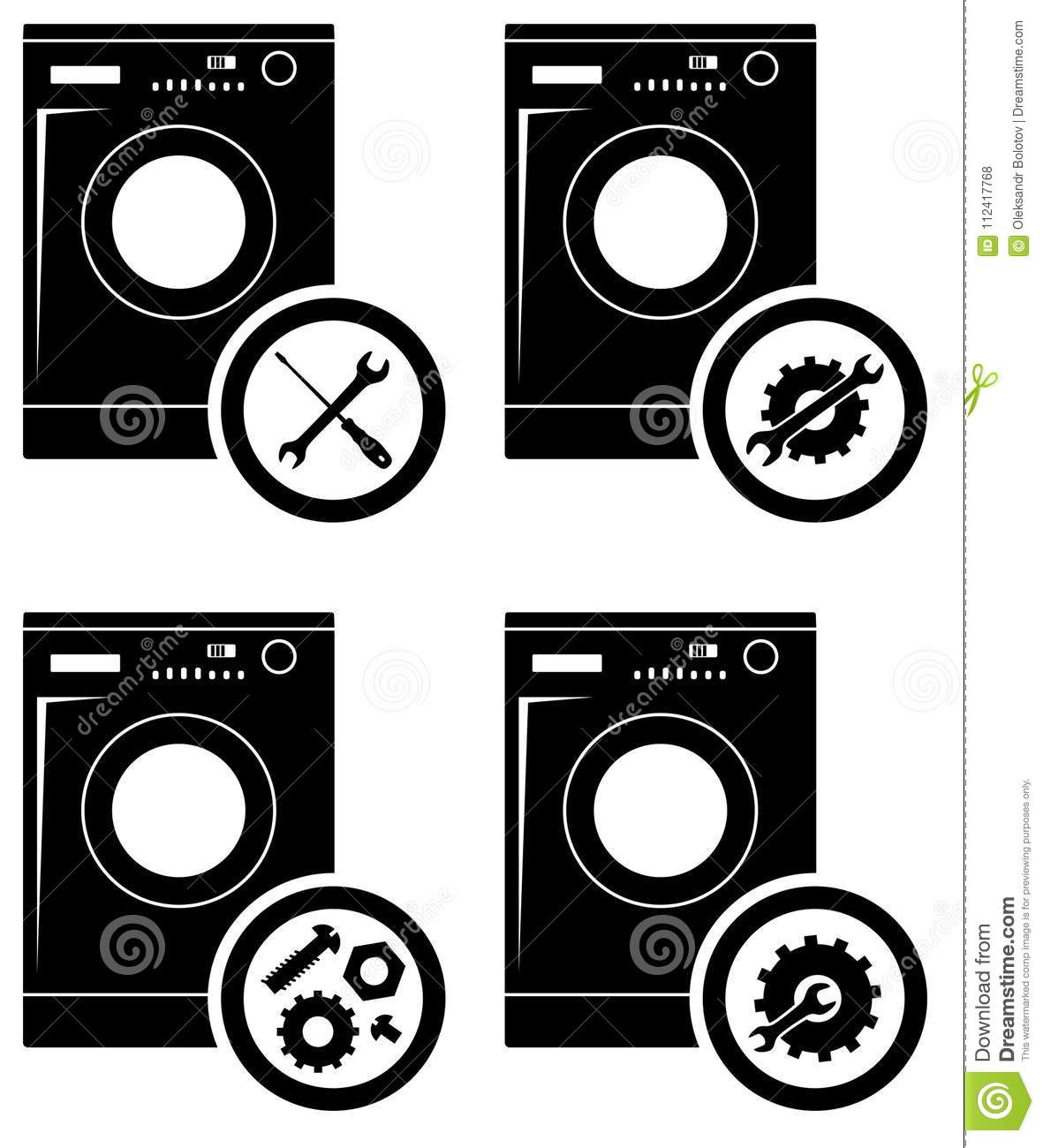Repair Service Concept  Simple Icons Set  Wrench