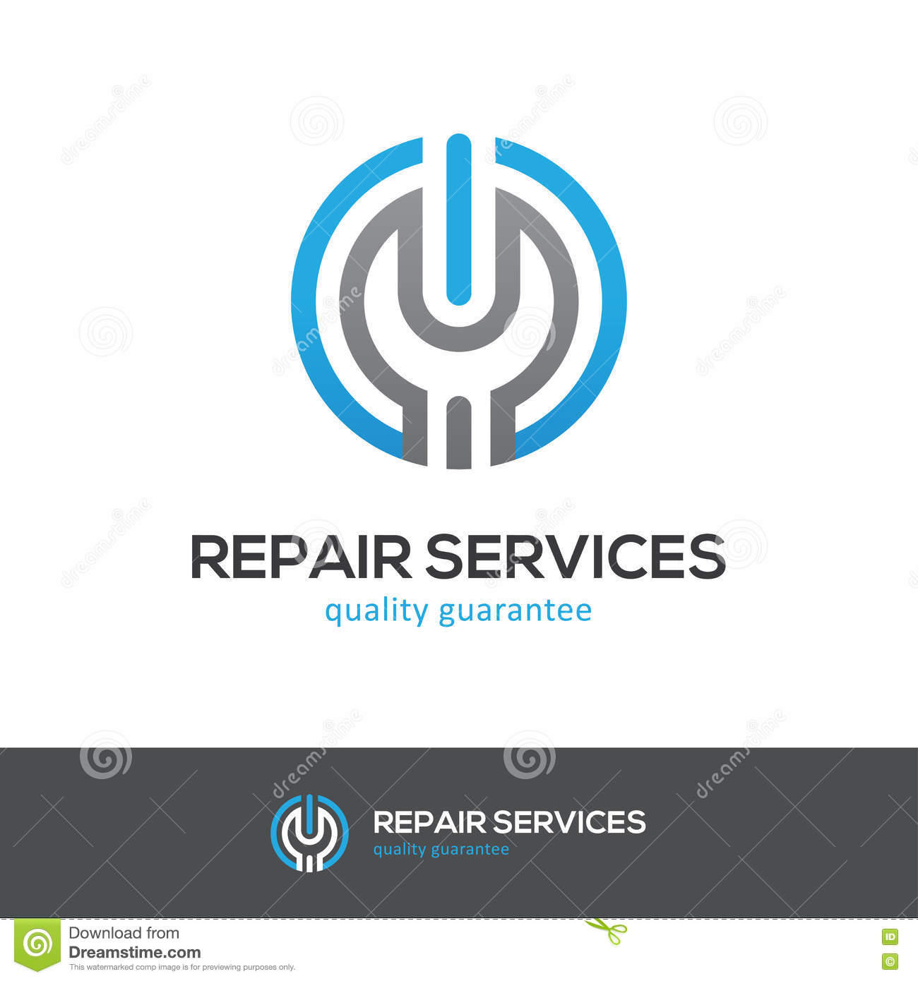 repair services logo with wrench and power button stock