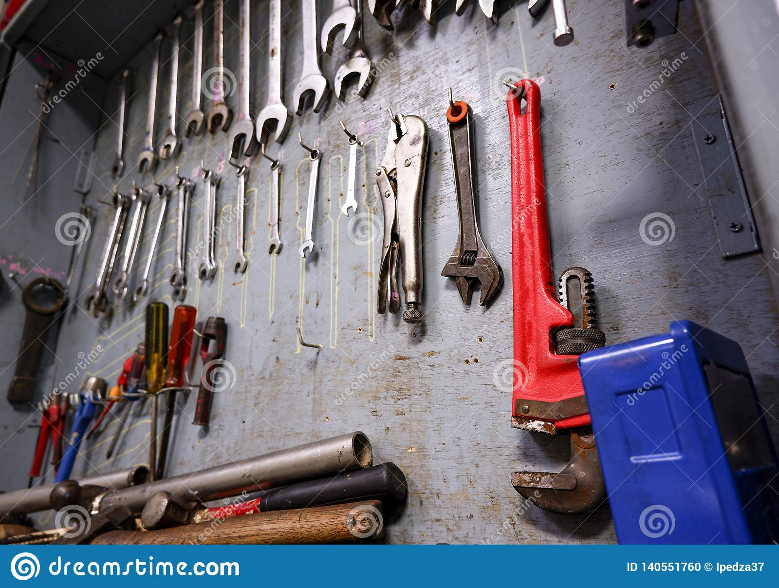 Repair tool cabinet Which is full of equipment for industrial work