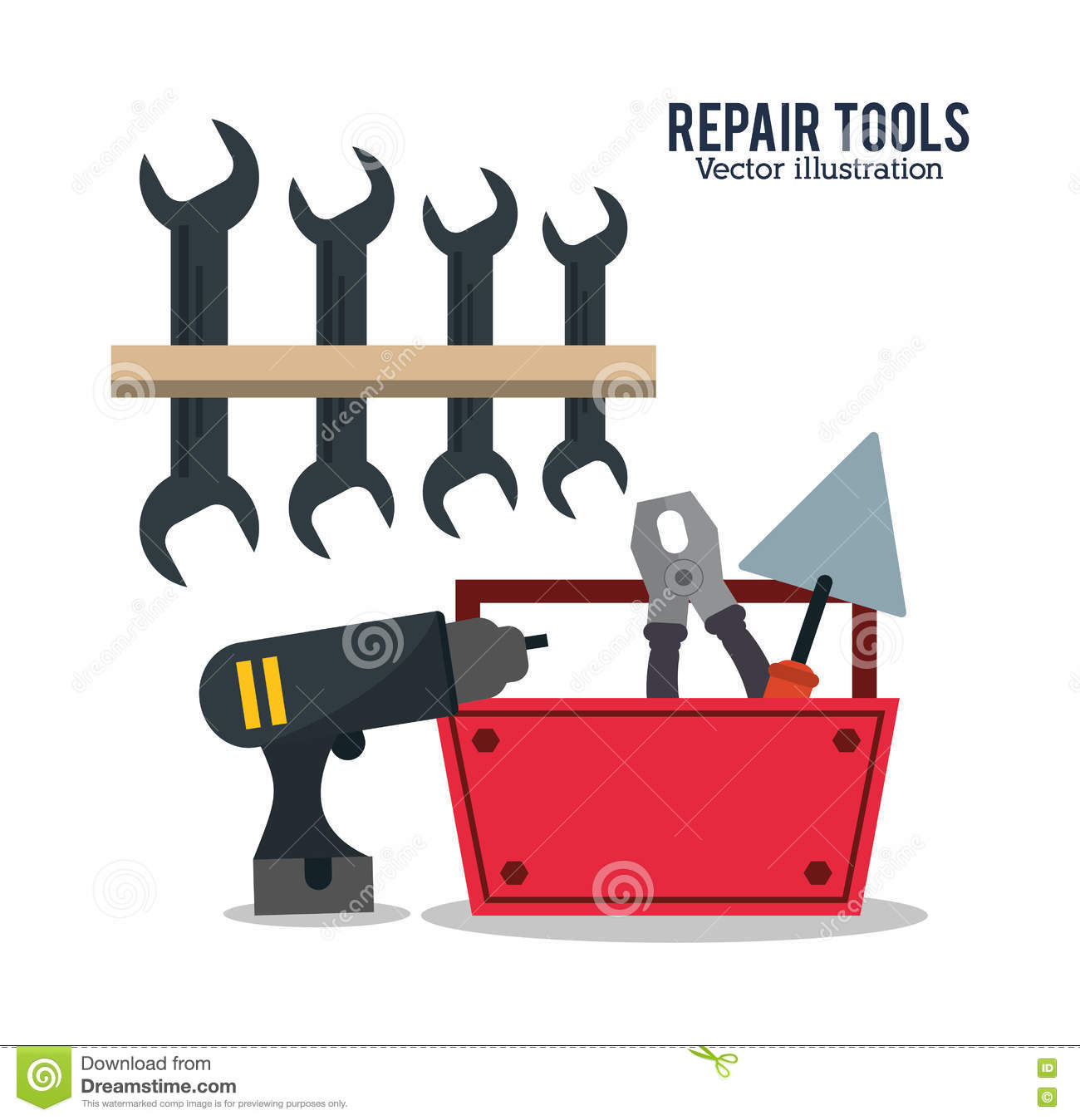 Repair Tools Construction Design Stock Vector Illustration Of
