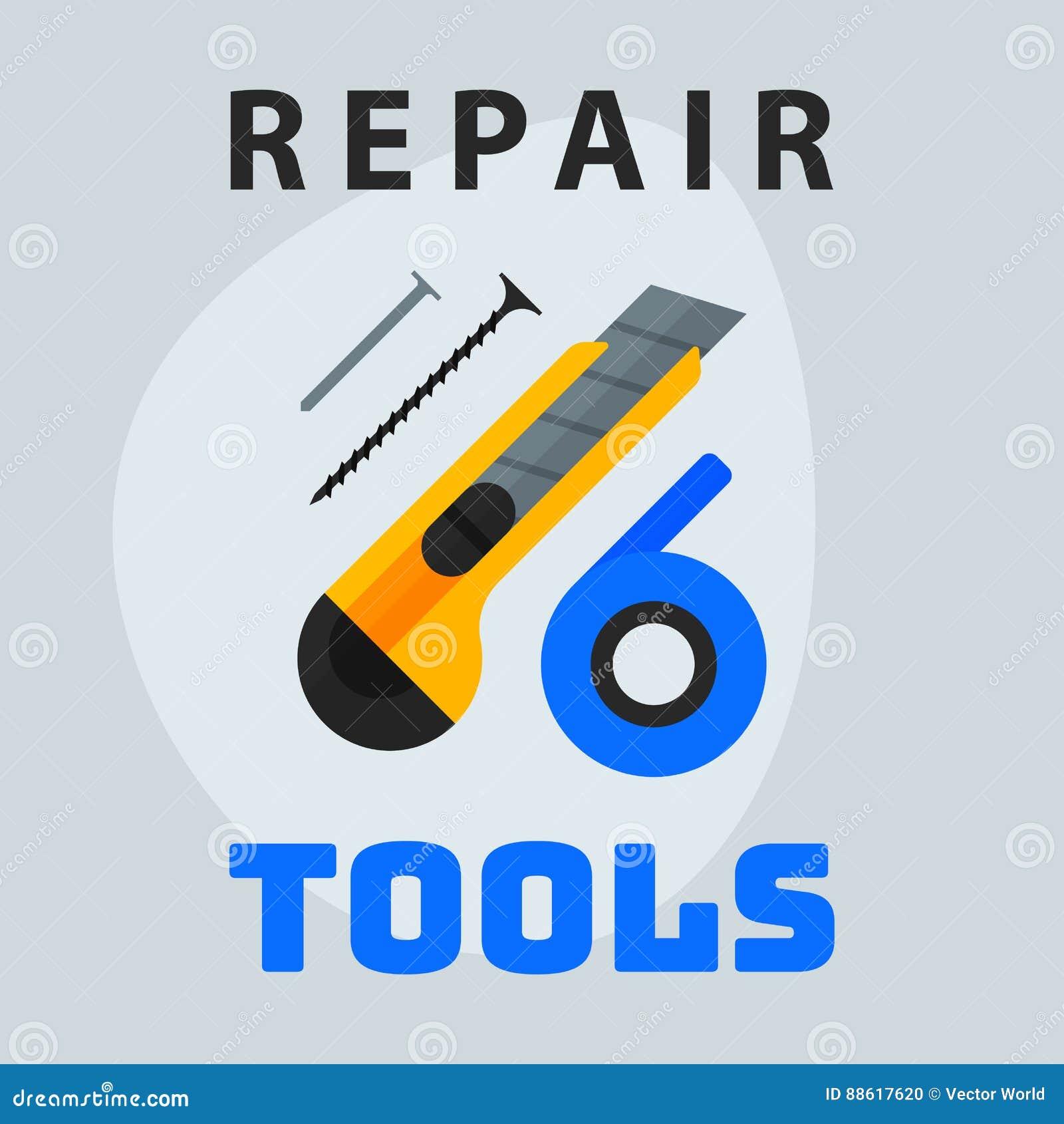 Repair Tools Knife Tape Nails Icon Creative Graphic Design Logo