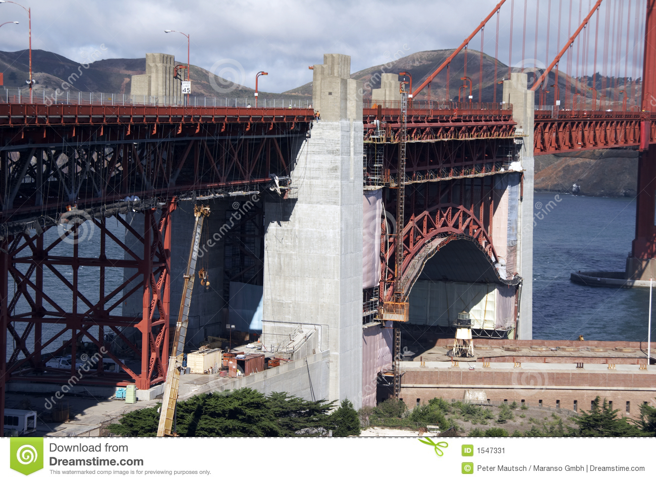 Repair work at golden gate bridge - landscape format