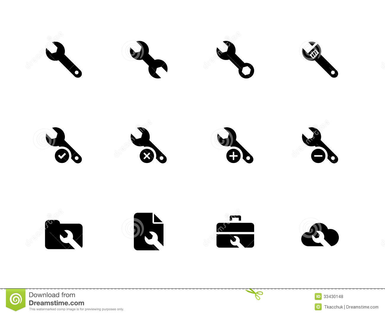 Wrench Black Vector Repair Wrench icons on white