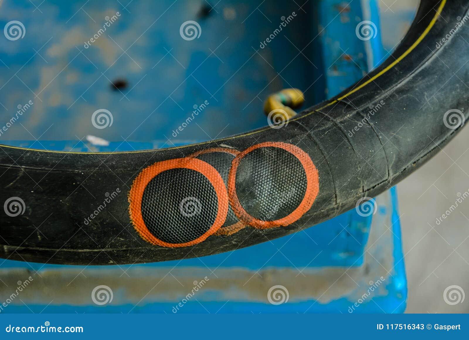 Repaired bike inner tube