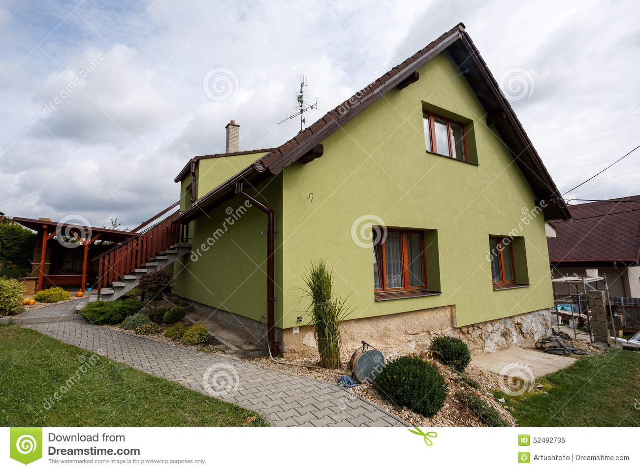 Facades De Maisons En Couleurs repaired rural house stock photo. image of done, fixing