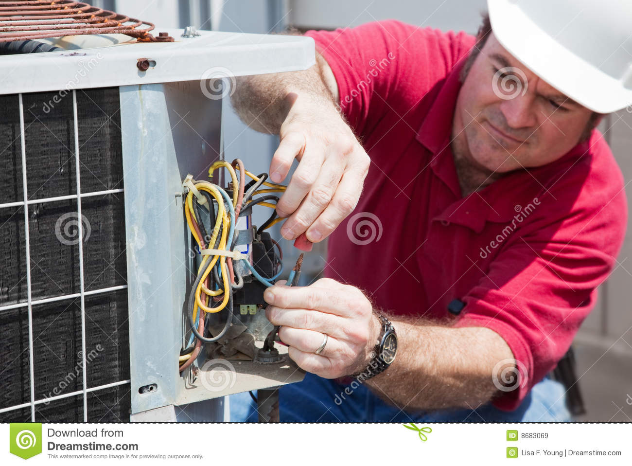 Repairing Ac Compressor Stock Image Of Installation 8683069 Home Wiring
