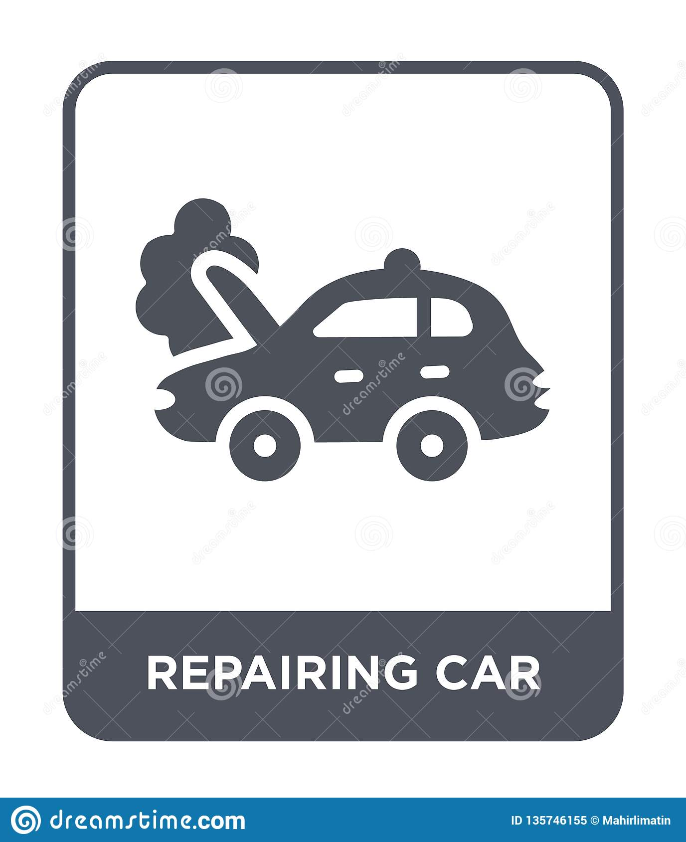 repairing car icon in trendy design style. repairing car icon isolated on white background. repairing car vector icon simple and