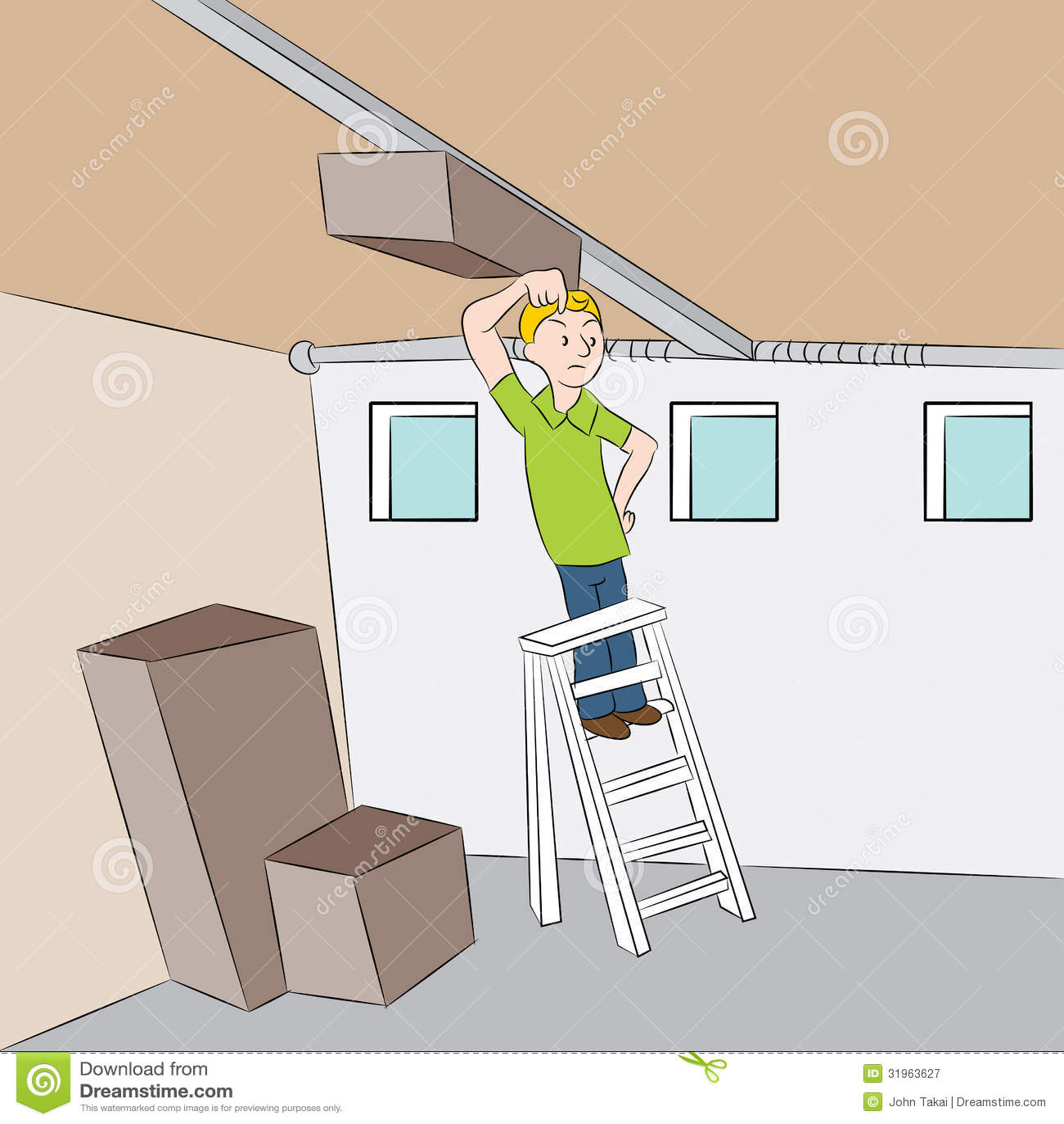 Repairing garage door stock vector illustration of for Garage man door